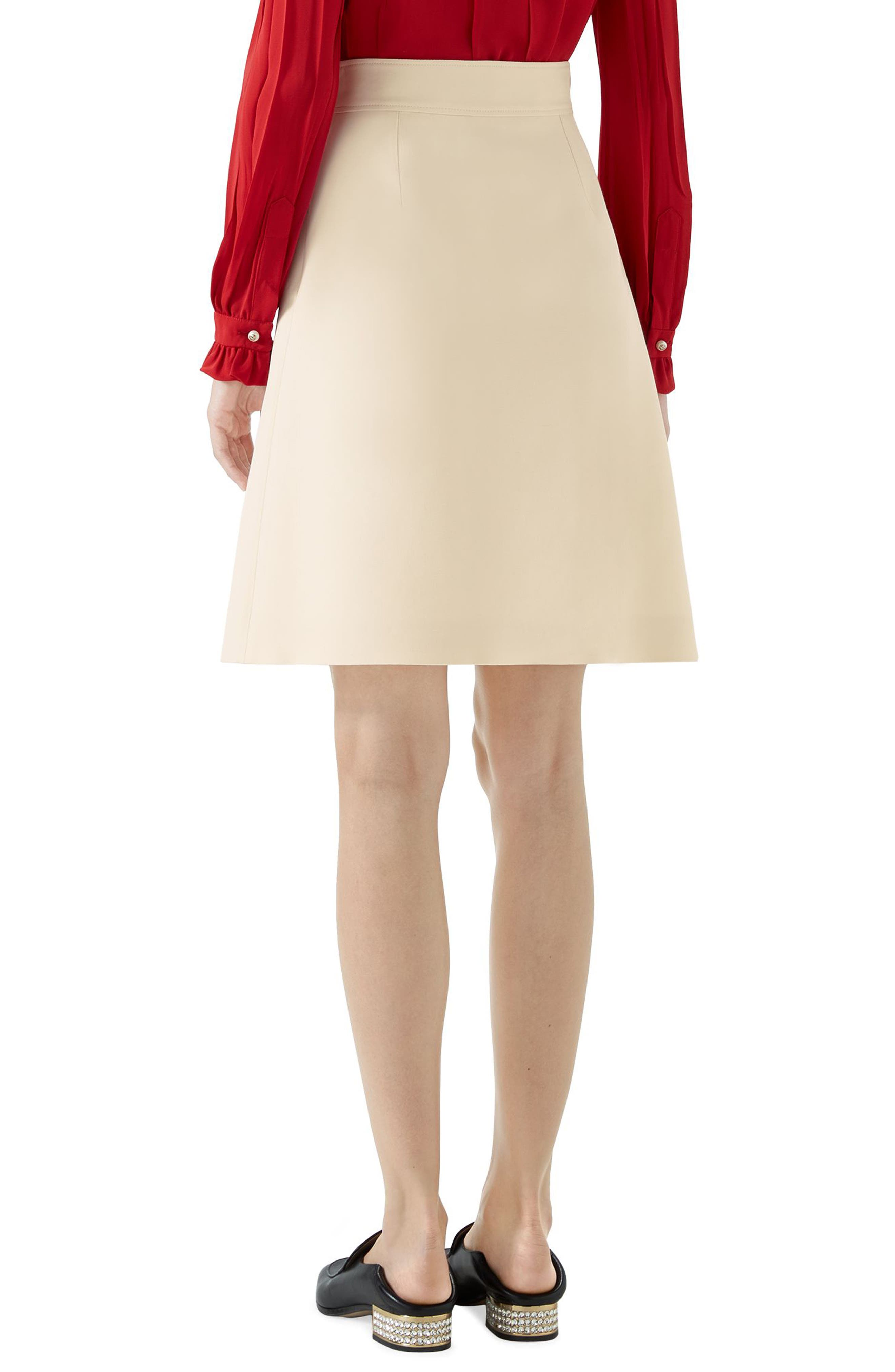 Tiger Button Wool & Silk Crepe A-Line Skirt,                             Alternate thumbnail 2, color,                             Gardenia