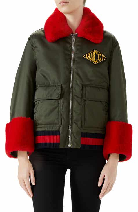 23cae2919ef Gucci Faux Fur Trim Nylon Flight Jacket