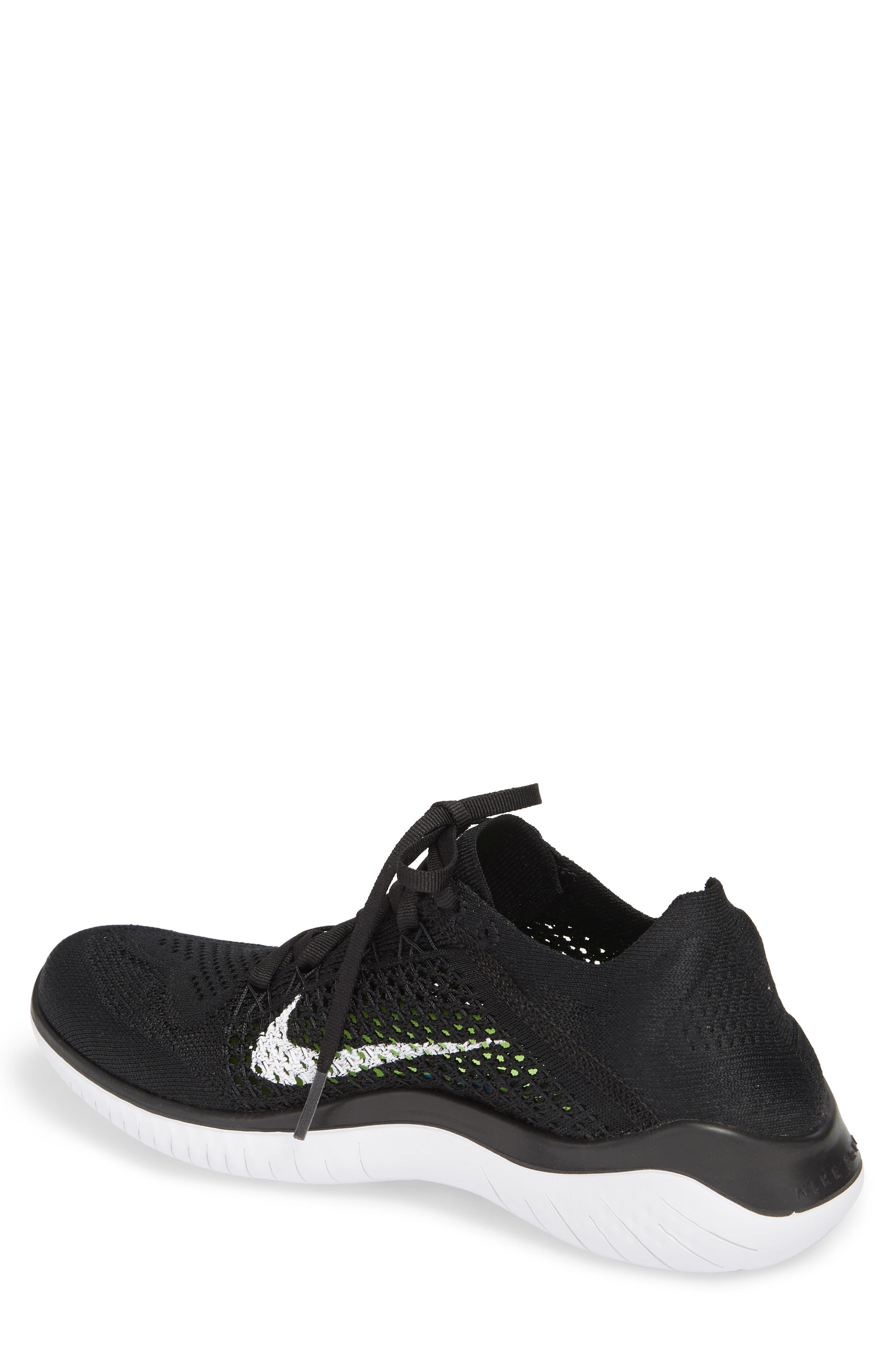 Free RN Flyknit 2018 Running Shoe,                             Alternate thumbnail 2, color,                             Black/ White