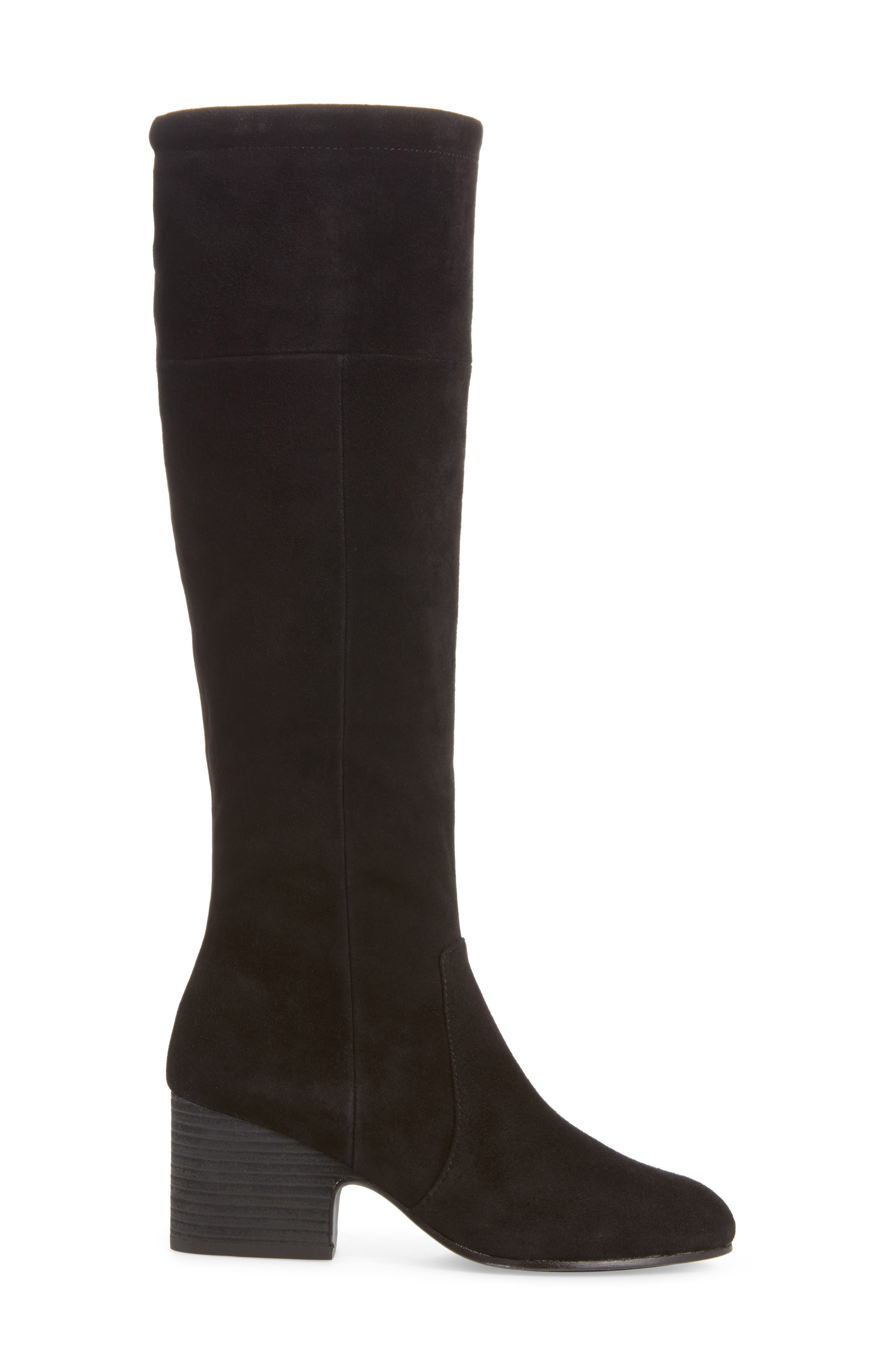 Knee High Boot,                             Alternate thumbnail 3, color,                             Black Suede