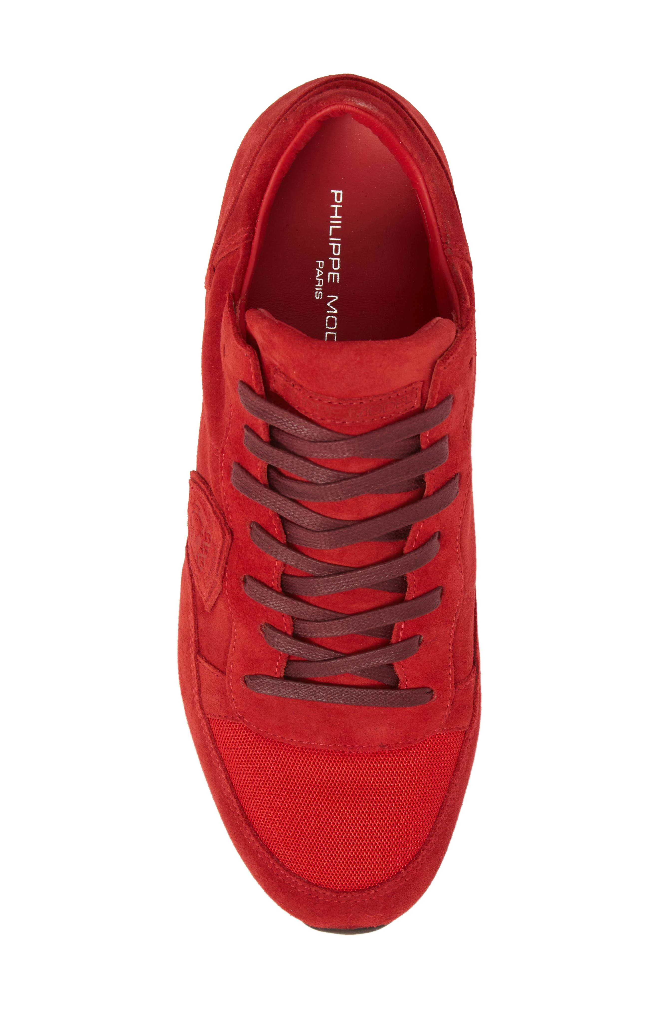 Tropez Low Top Sneaker,                             Alternate thumbnail 5, color,                             Red Suede