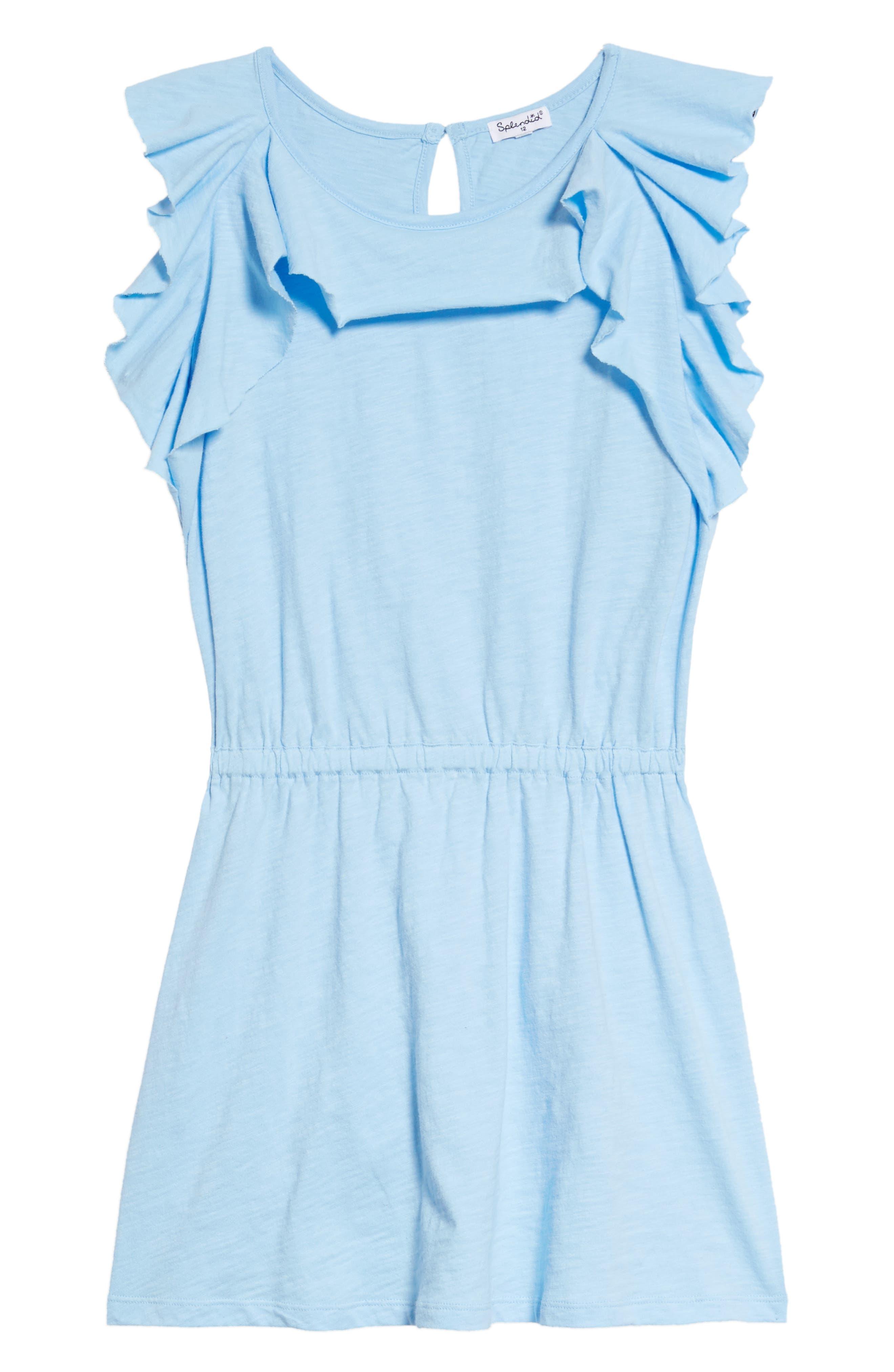 Flounce Dress,                             Main thumbnail 1, color,                             Blue Bell