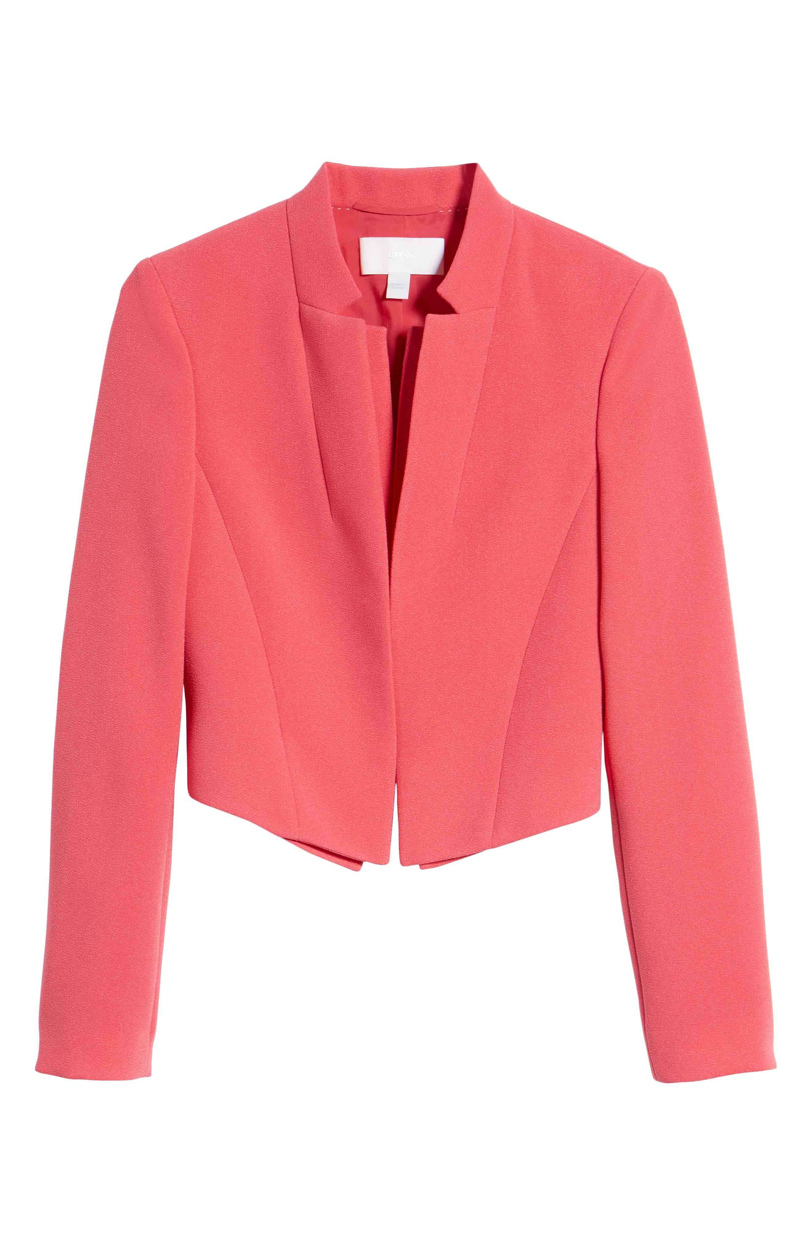 Jisala Compact Crepe Crop Jacket,                             Alternate thumbnail 6, color,                             Lychee Pink