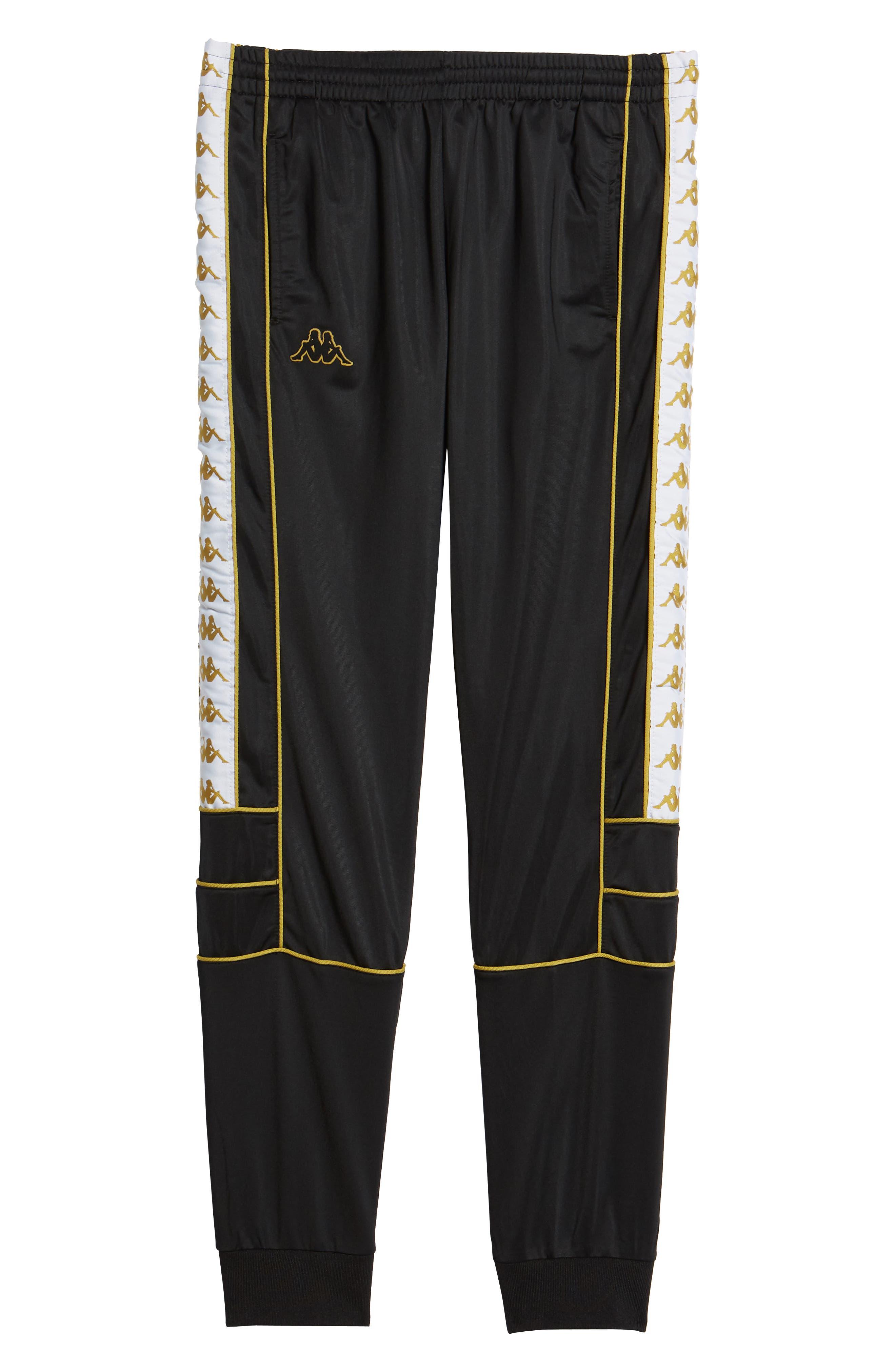 Racing Track Pants,                             Alternate thumbnail 6, color,                             Black/ White Gold