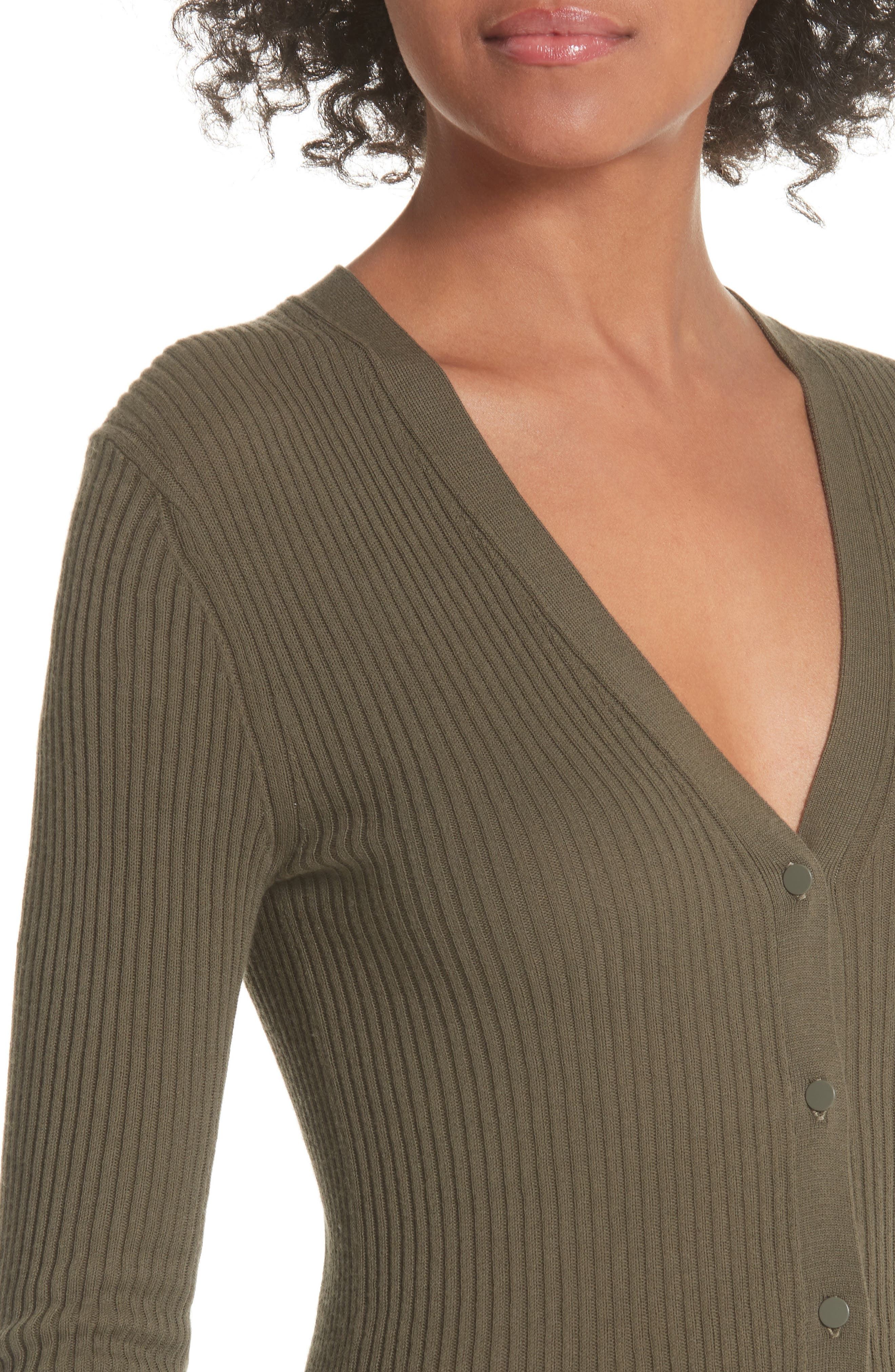 Ribbed Lettuce Cuff Cotton Cardigan,                             Alternate thumbnail 4, color,                             Bayleaf