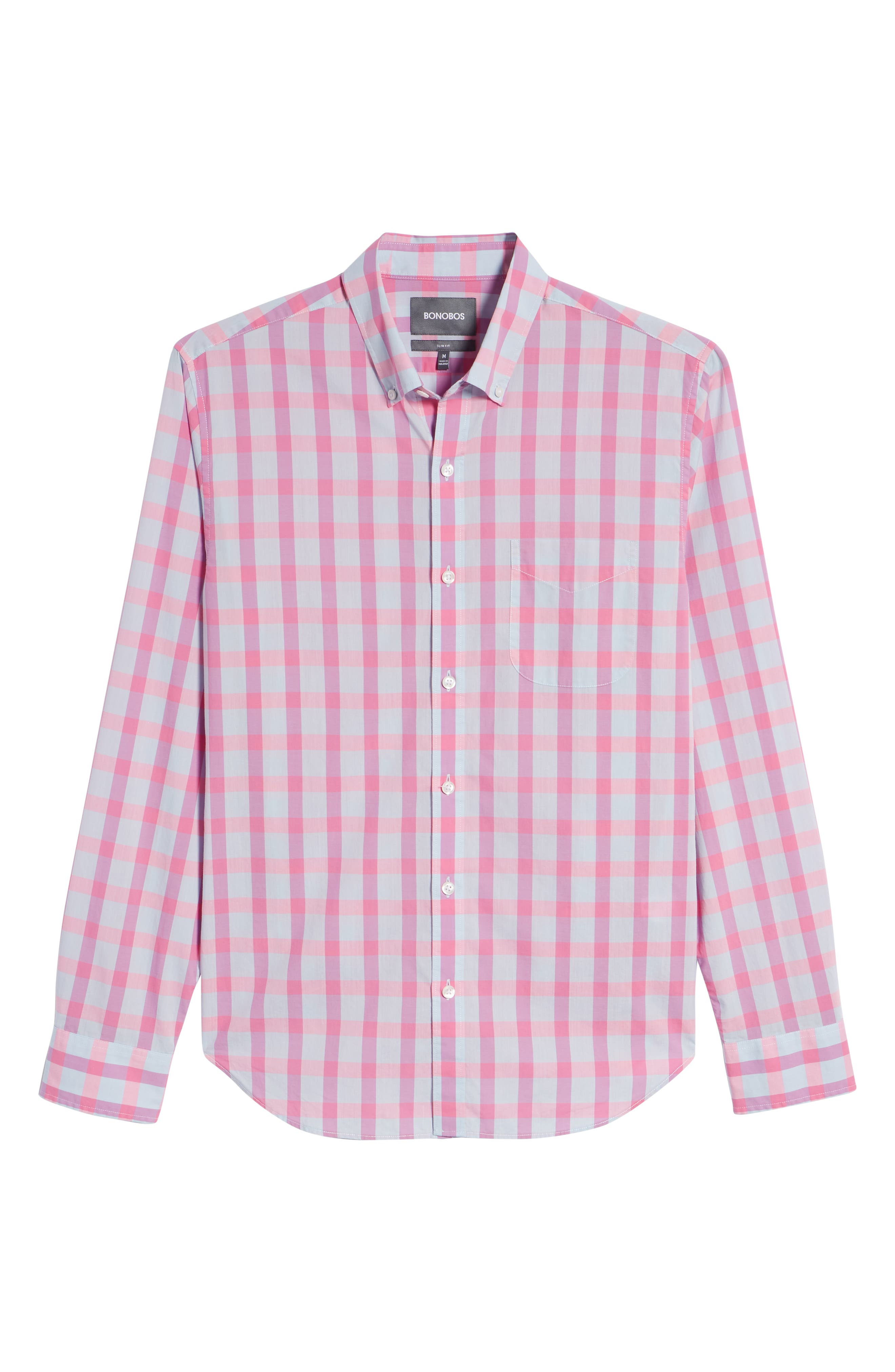 Summerweight Slim Fit Check Sport Shirt,                             Alternate thumbnail 6, color,                             Harris Check - Pink Rocket