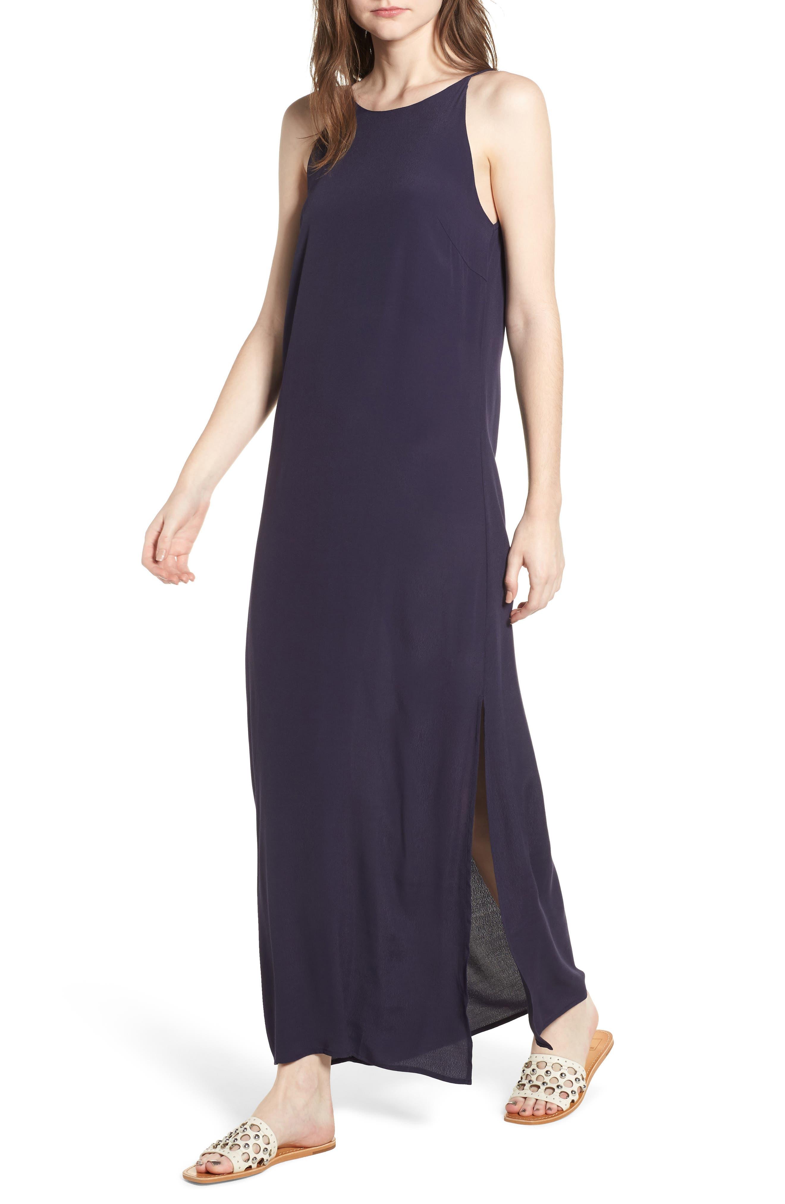 Maxi Dress,                         Main,                         color, Navy