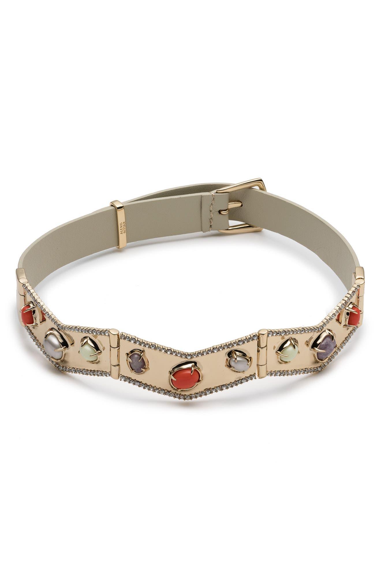 Alexis Bittar Cluster Buckle Leather Bracelet