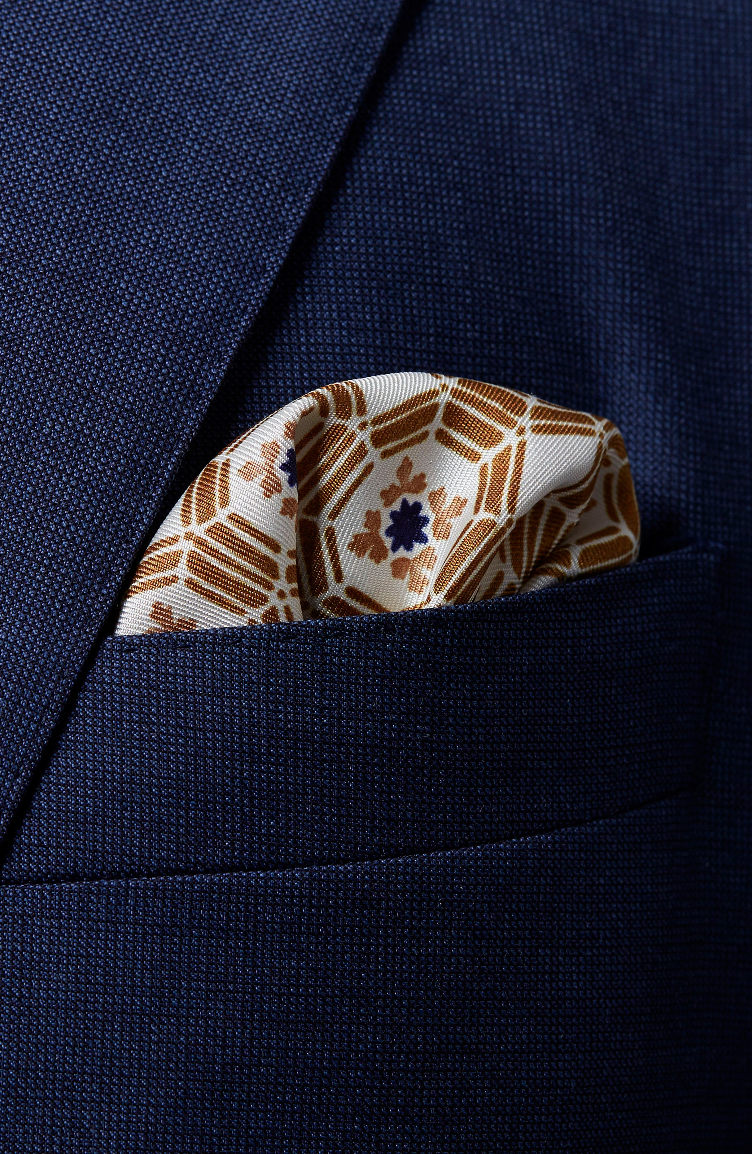 Medallion Silk Pocket Square,                             Alternate thumbnail 2, color,                             Navy \ Brown