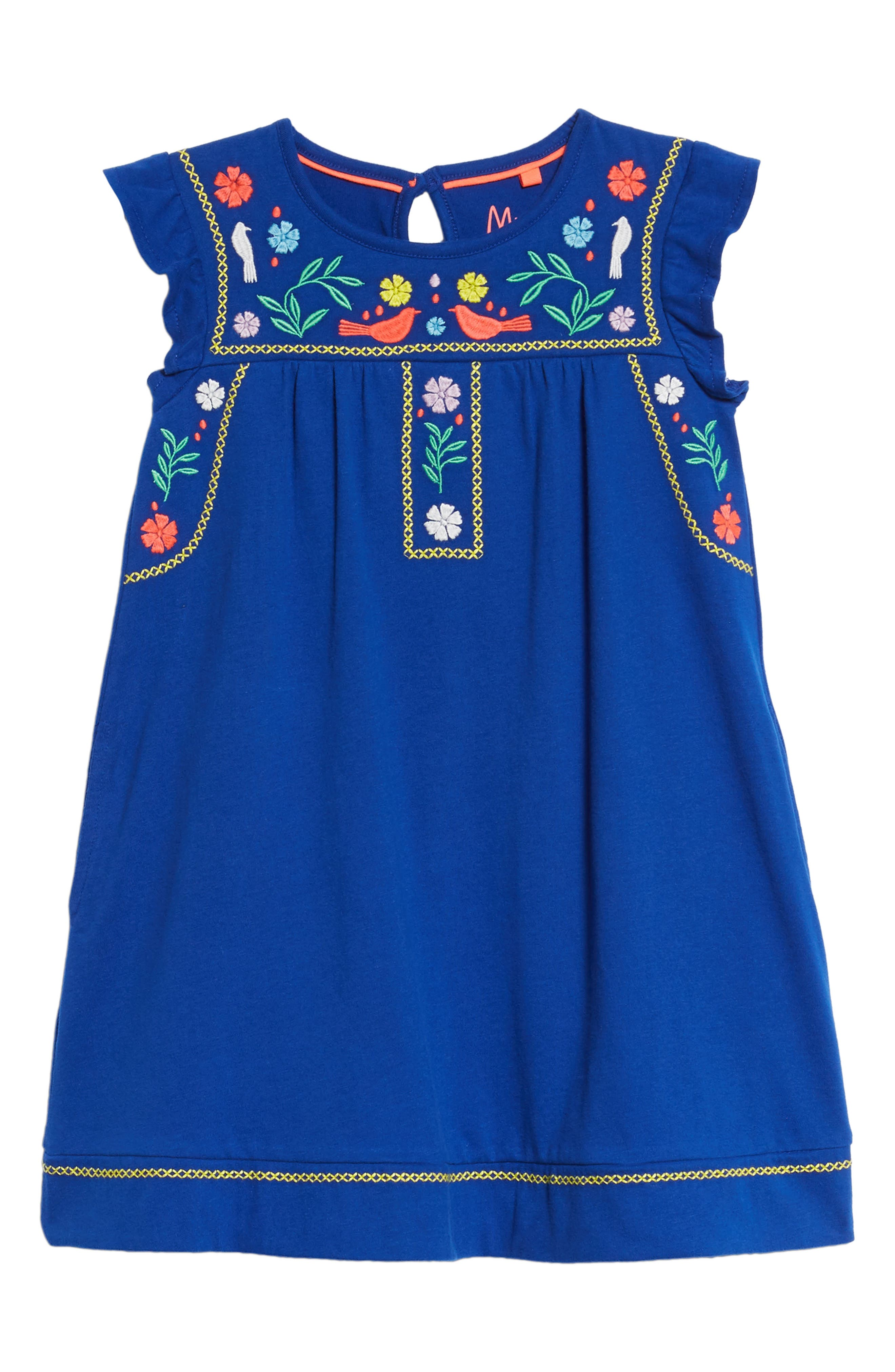 Embroidered Jersey Dress,                         Main,                         color, Orion Blue