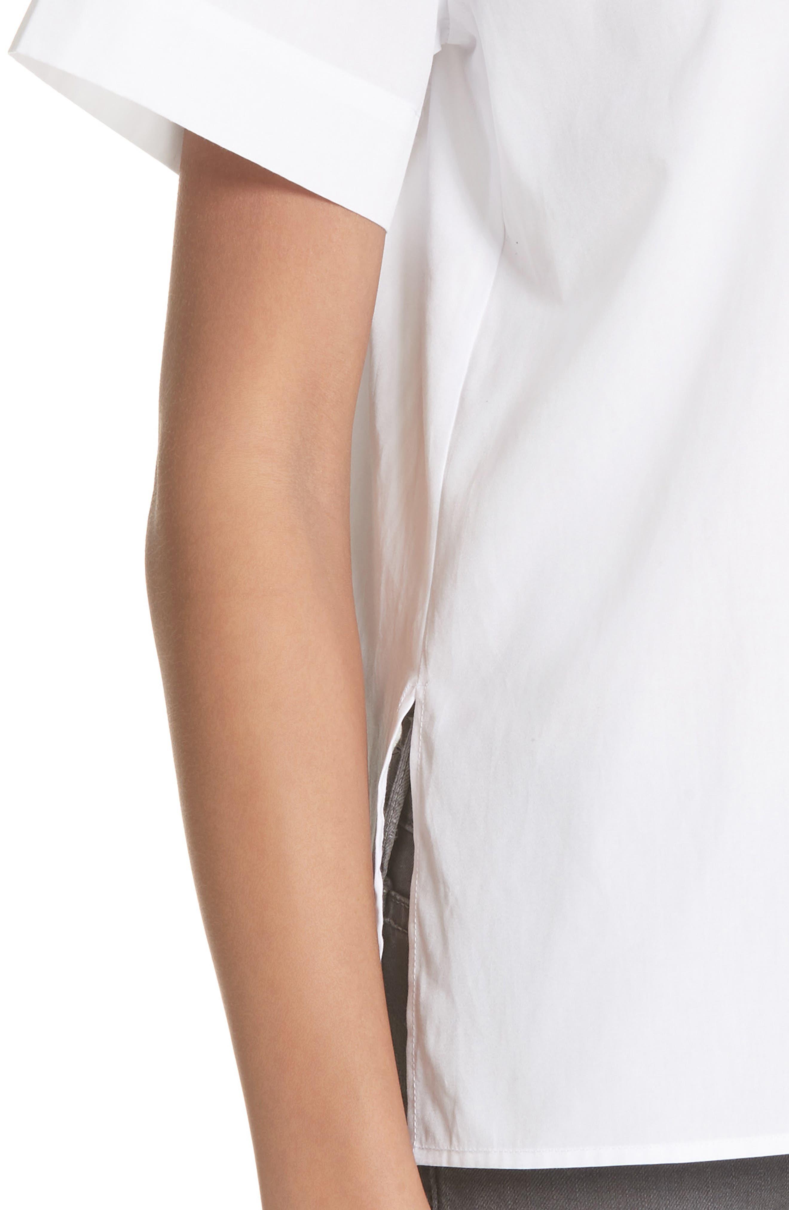 Short Sleeve Cotton Shirt,                             Alternate thumbnail 4, color,                             Optic White