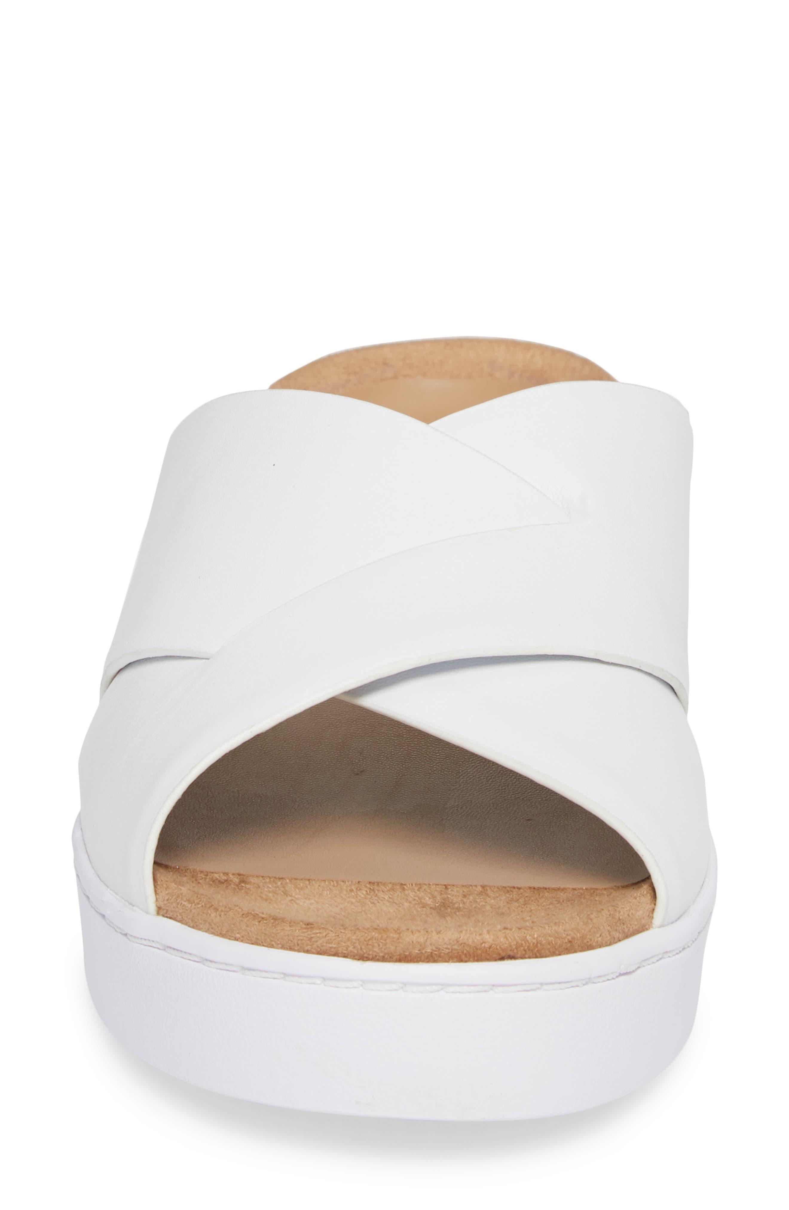 Lou Slide Sandal,                             Alternate thumbnail 4, color,                             White Leather