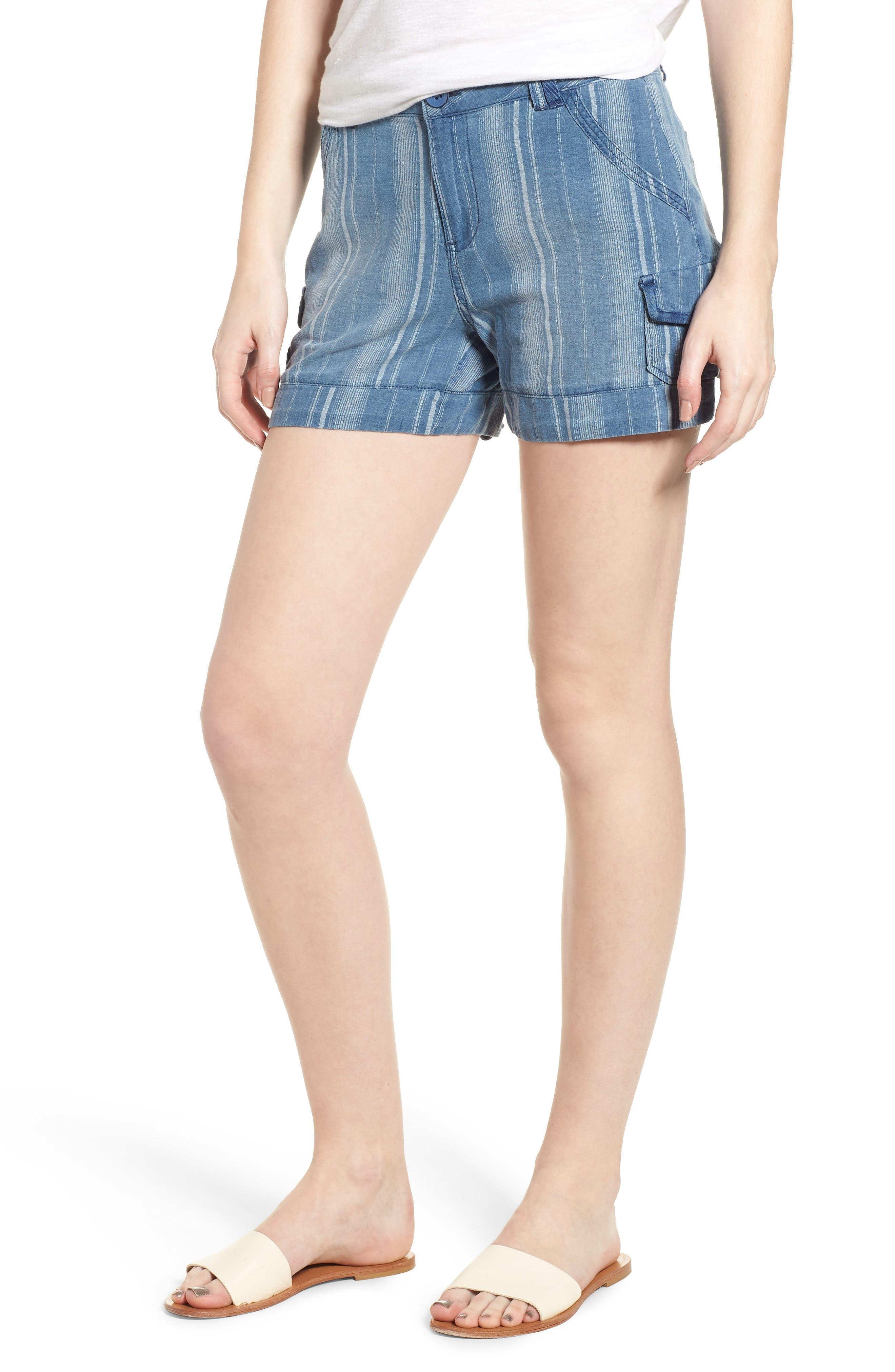 High Rise Striped Shorts,                             Main thumbnail 1, color,                             Blue Stripe