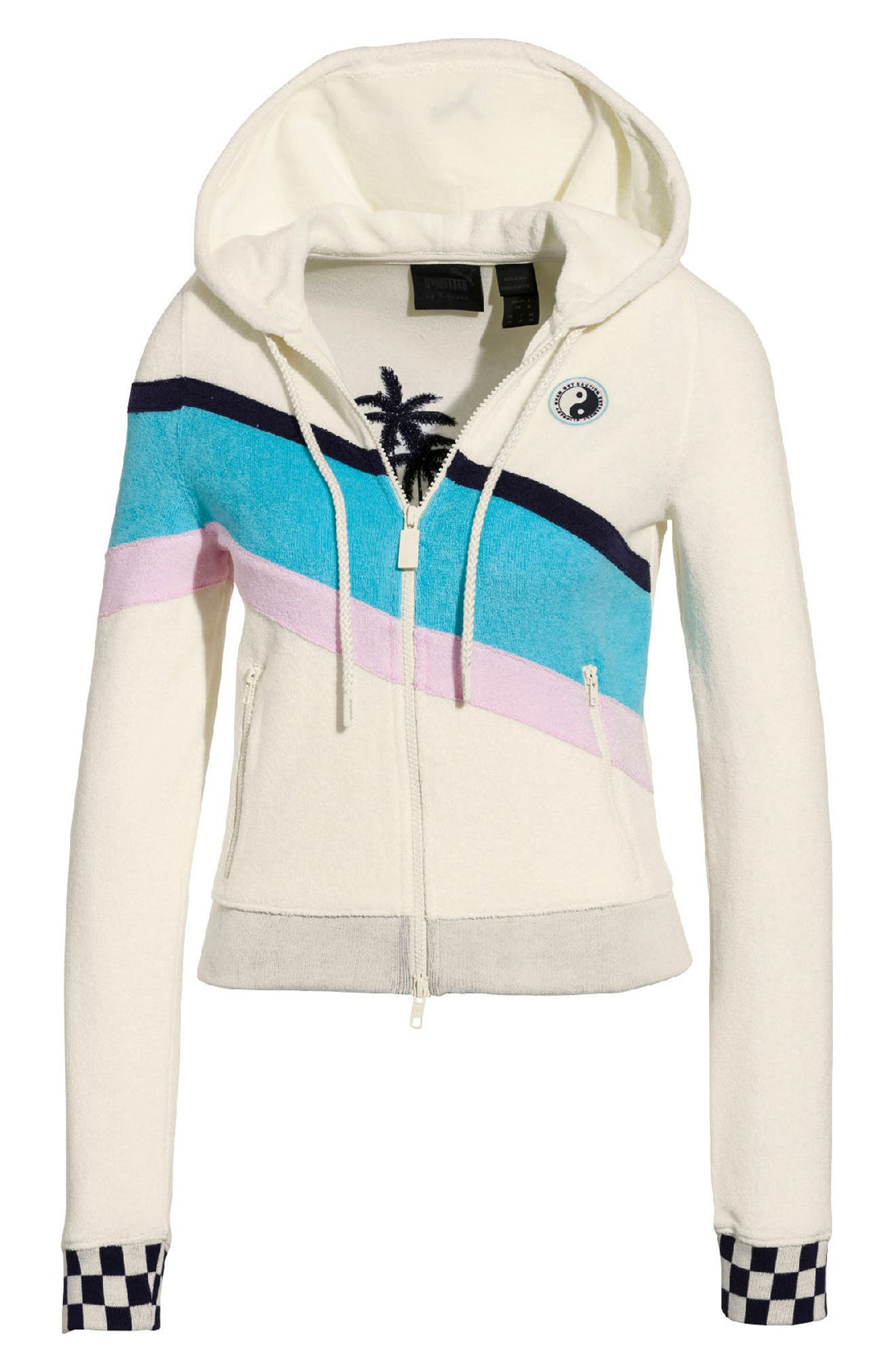 PUMA by Rihanna Palm Graphic Terry Cloth Hoodie,                         Main,                         color, Vanilla Ice