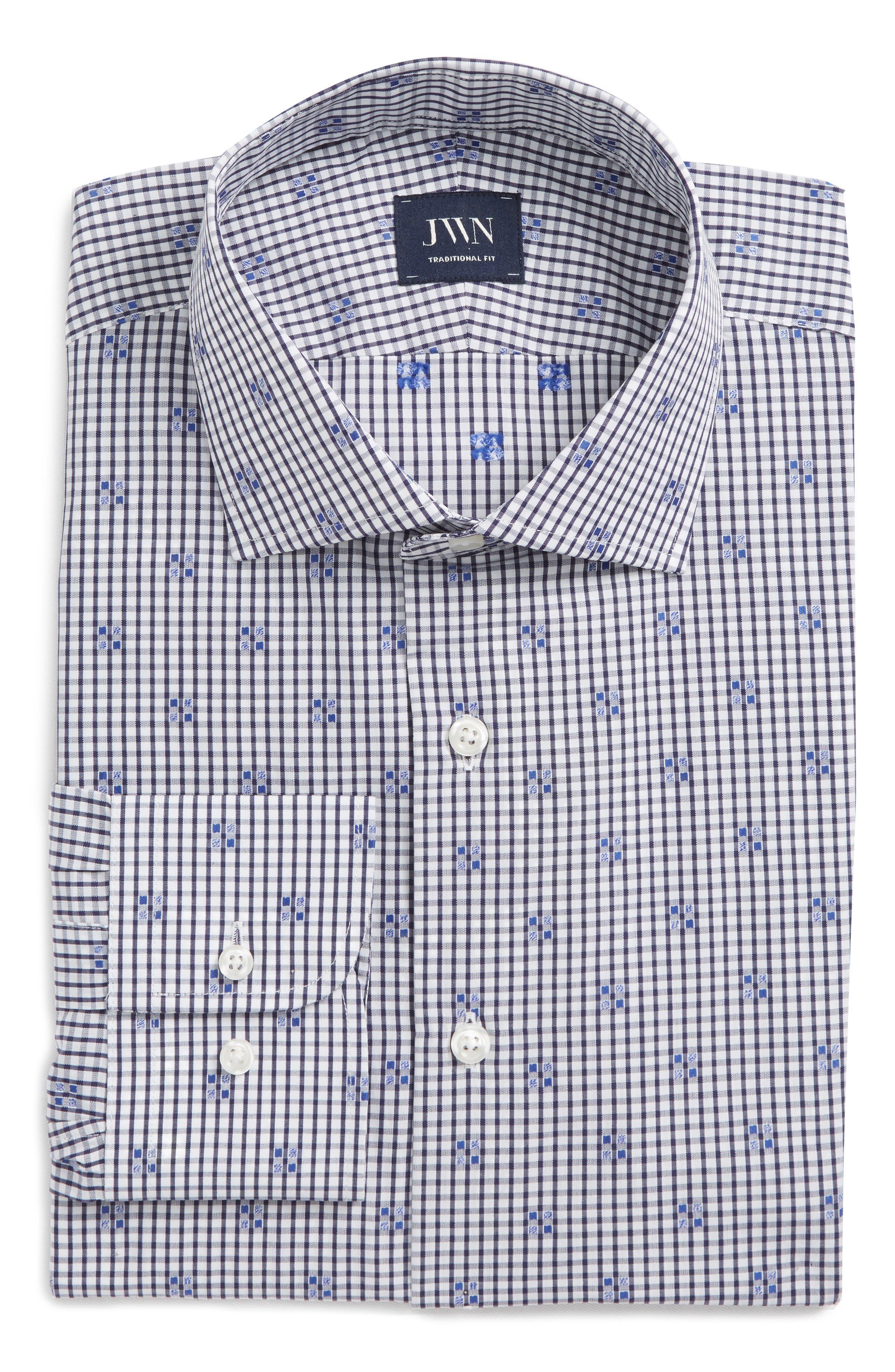 Trim Fit Check Dress Shirt,                             Alternate thumbnail 6, color,                             Navy Iris