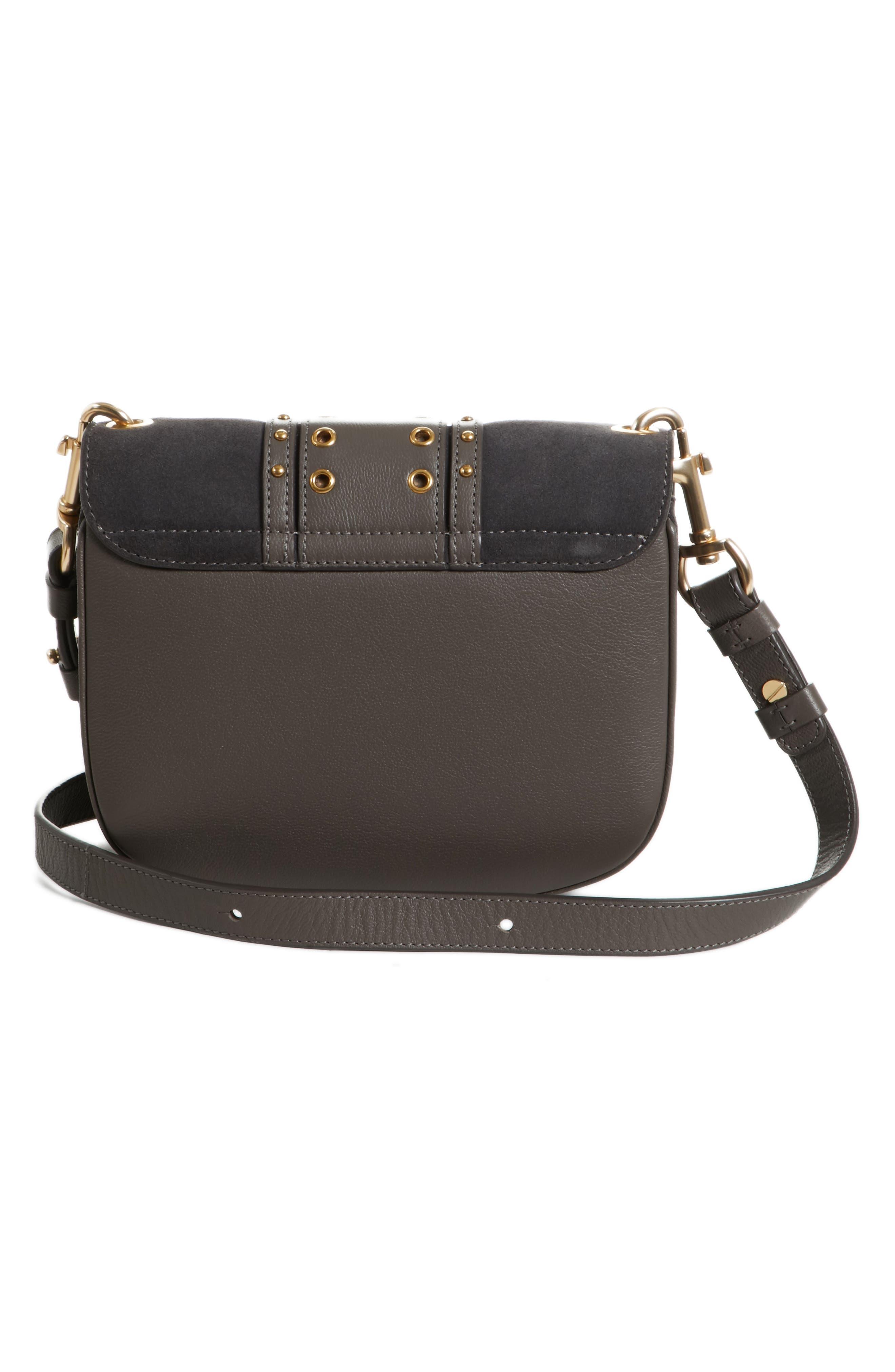 Small Hana Studded Leather Crossbody Bag,                             Alternate thumbnail 3, color,                             Lava Brown