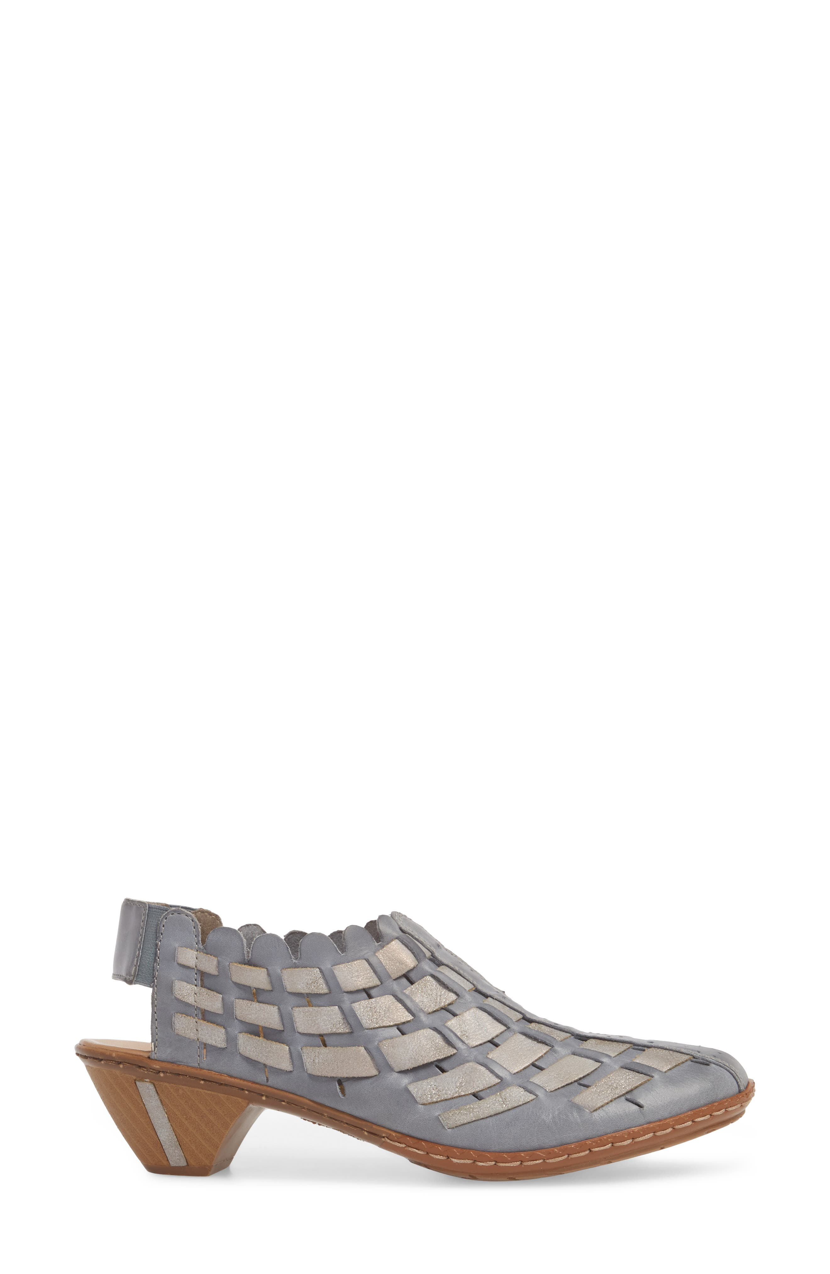 'Sina' Woven Bootie,                             Alternate thumbnail 3, color,                             Azur Grey Leather