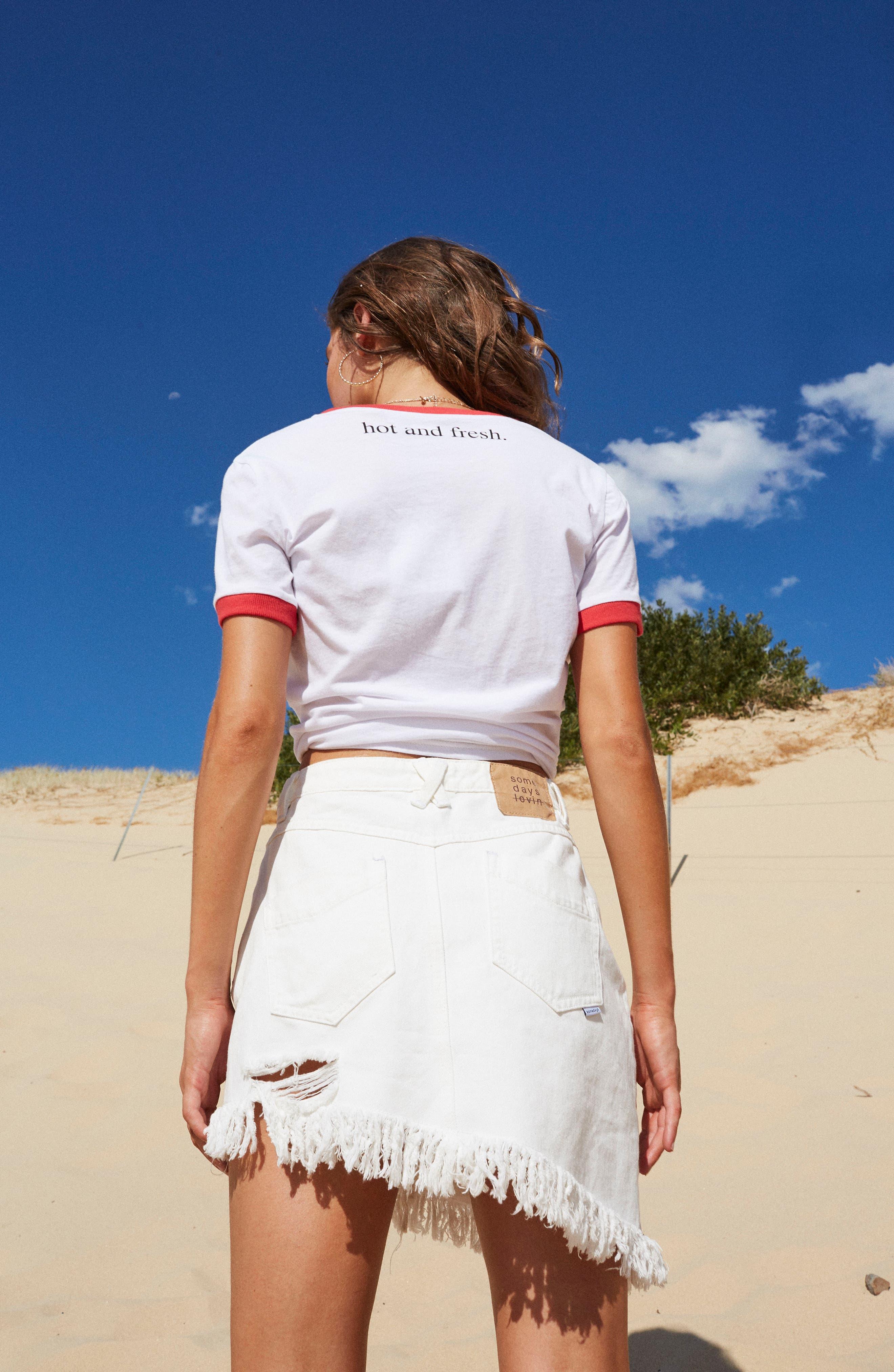 Shimmering Bays Ripped Denim Skirt,                             Alternate thumbnail 8, color,