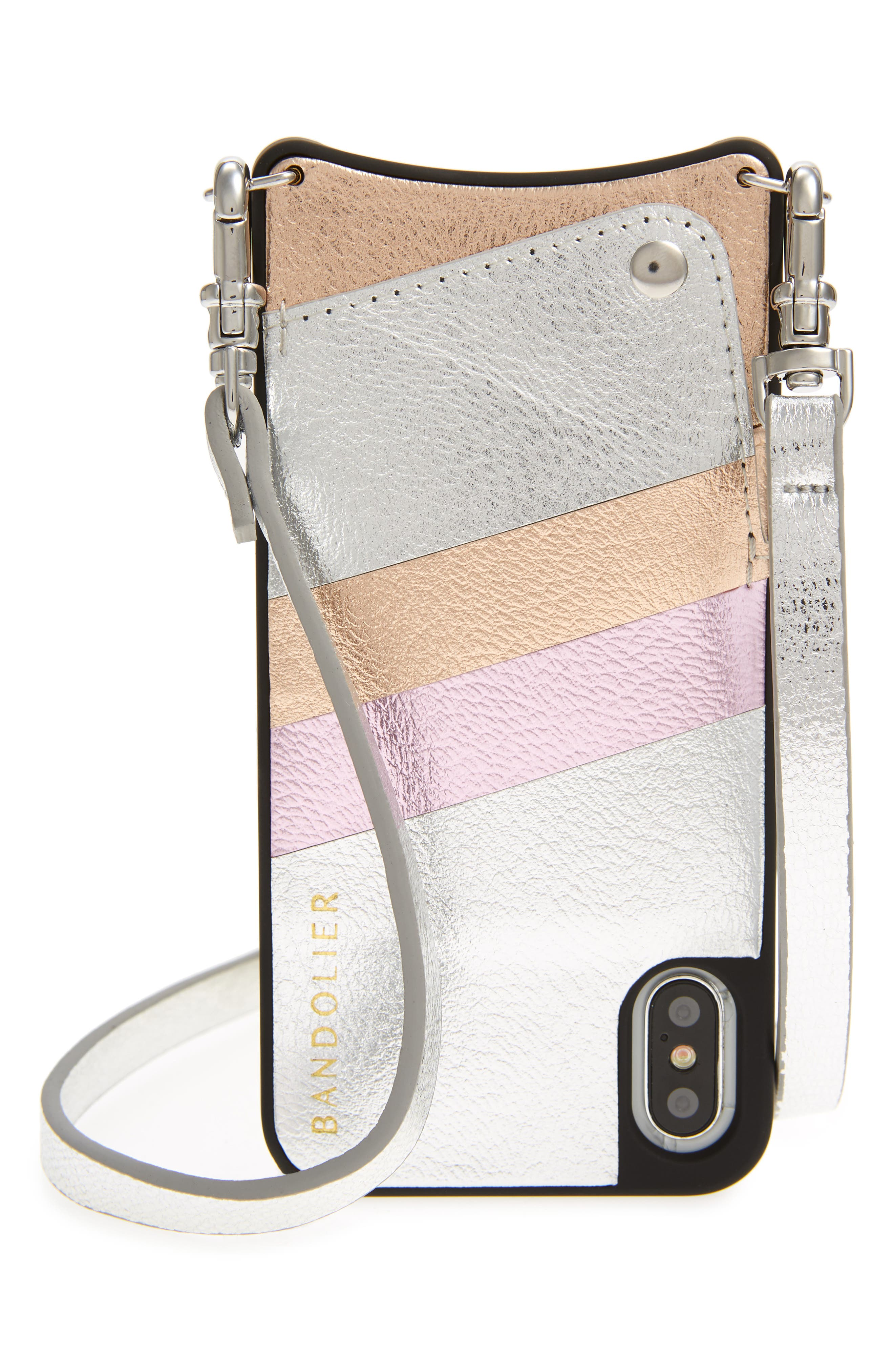 Emma Leather iPhone X Case,                             Main thumbnail 1, color,                             Silver/ Pink/ Rose