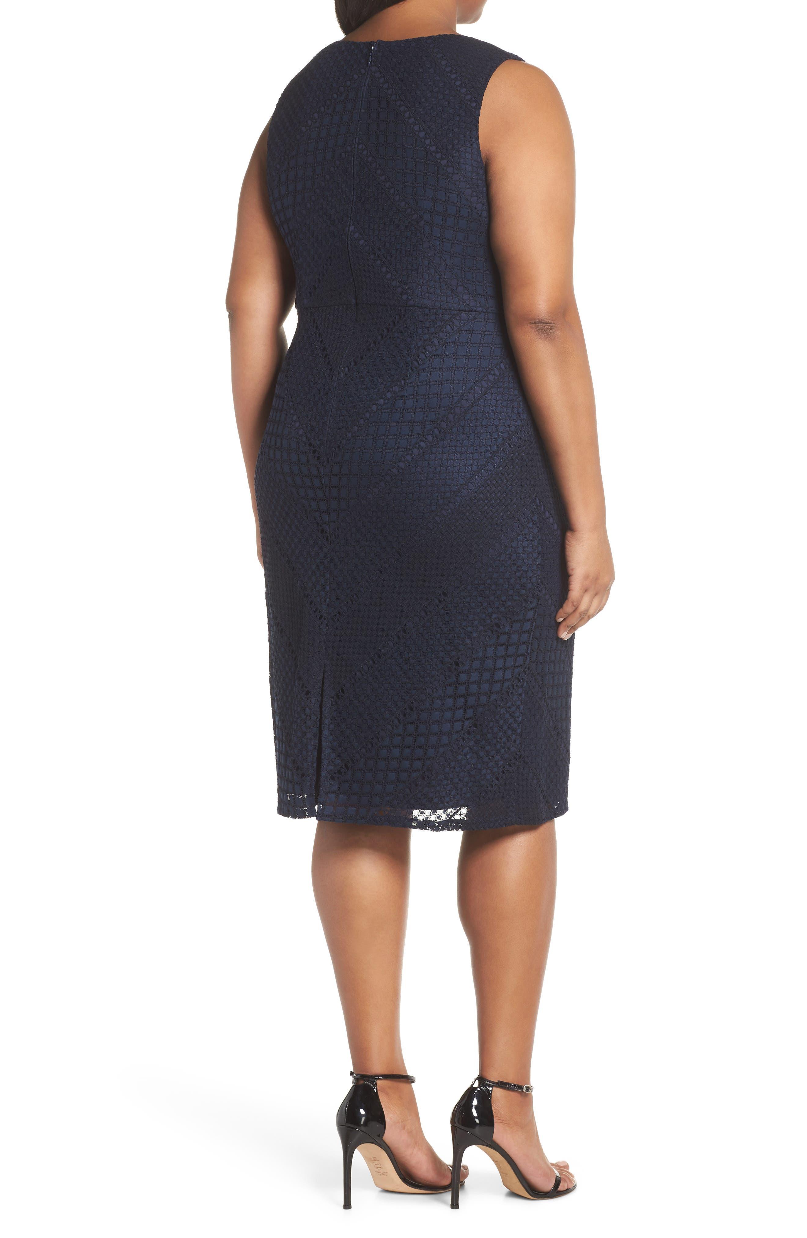 Vintage Stripe Lace Sheath Dress,                             Alternate thumbnail 2, color,                             Navy/ Black