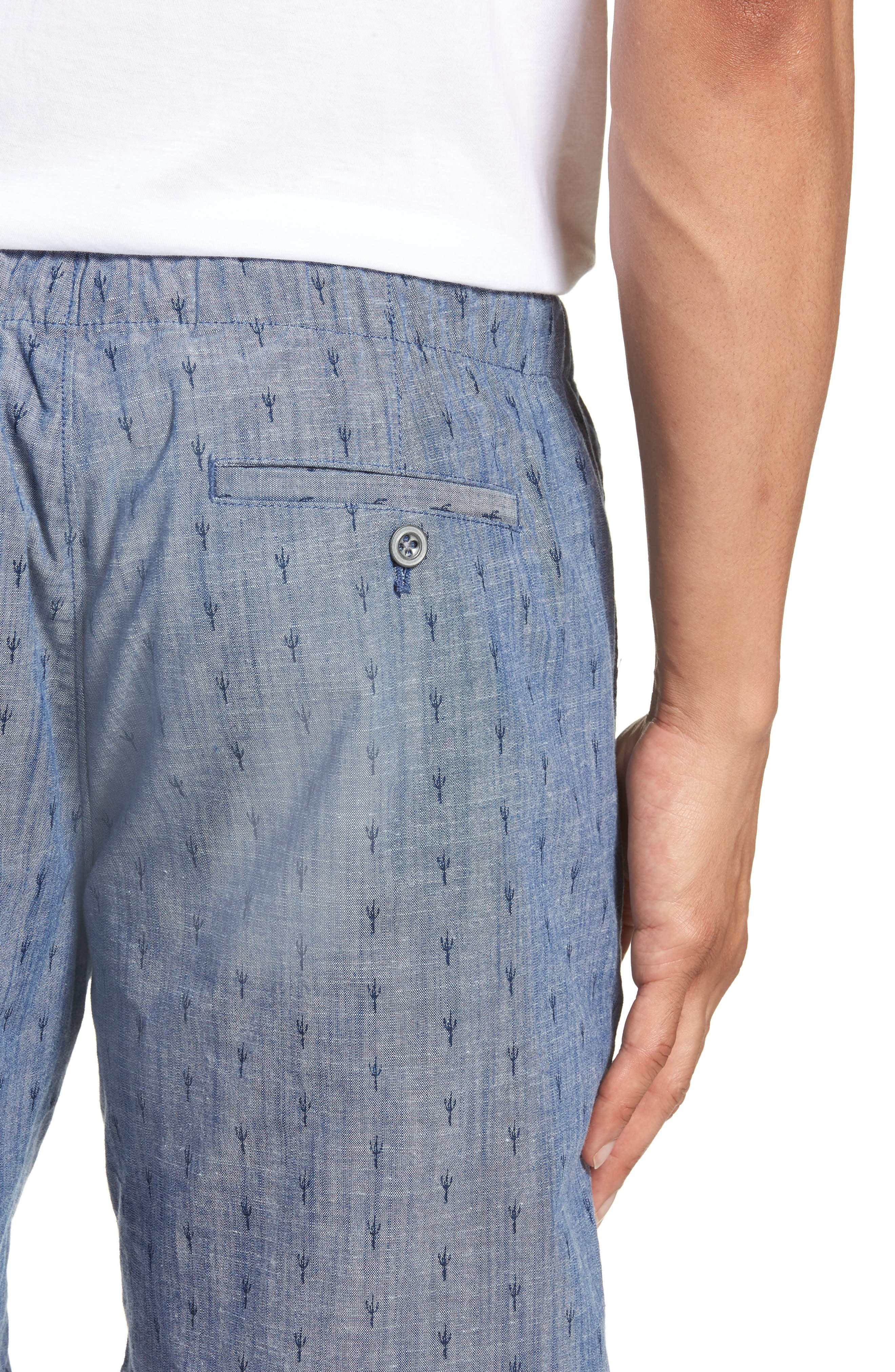 Slim Fit Print Beach Shorts,                             Alternate thumbnail 4, color,                             Cacti Stamp