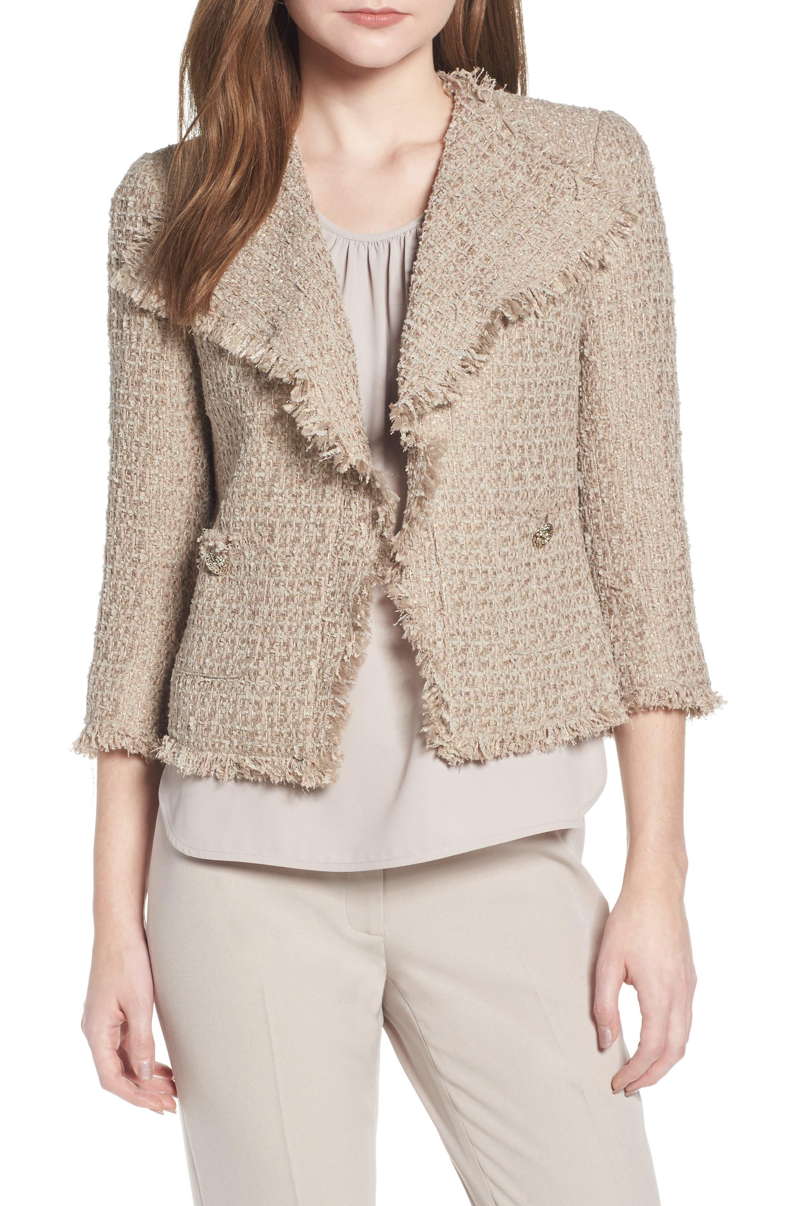 Anne Klein Fringed Tweed Jacket