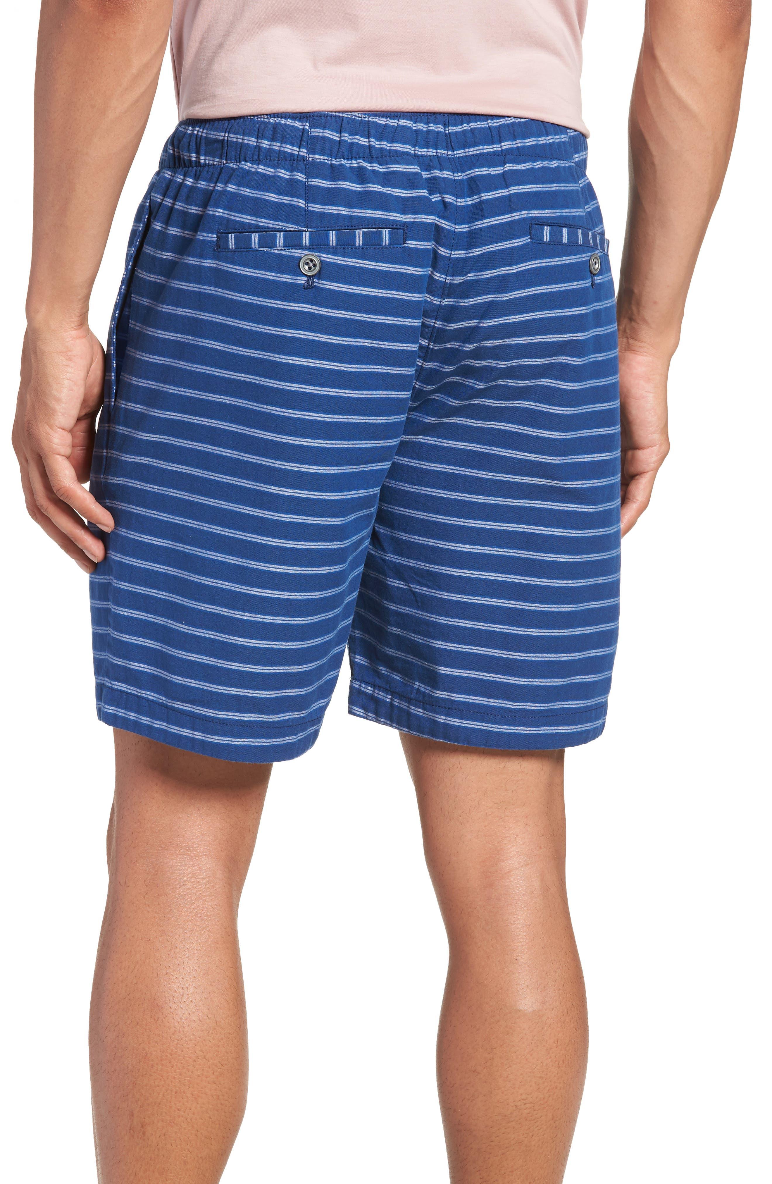 Slim Fit Stripe Beach Shorts,                             Alternate thumbnail 2, color,                             Blue Stripe
