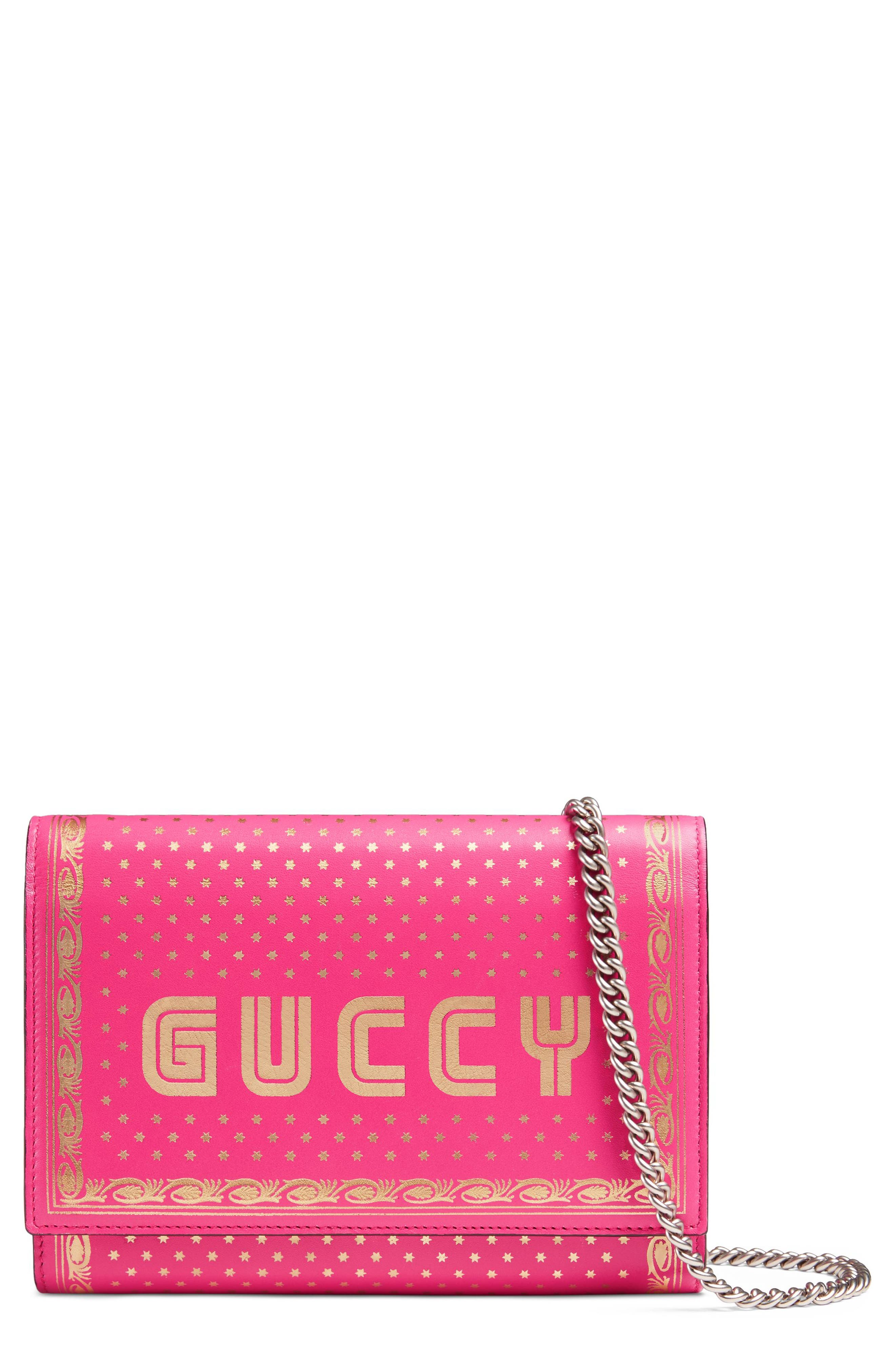 Guccy Logo Moon & Stars Leather Wallet on a Chain,                         Main,                         color, Bright Fucsia Oro