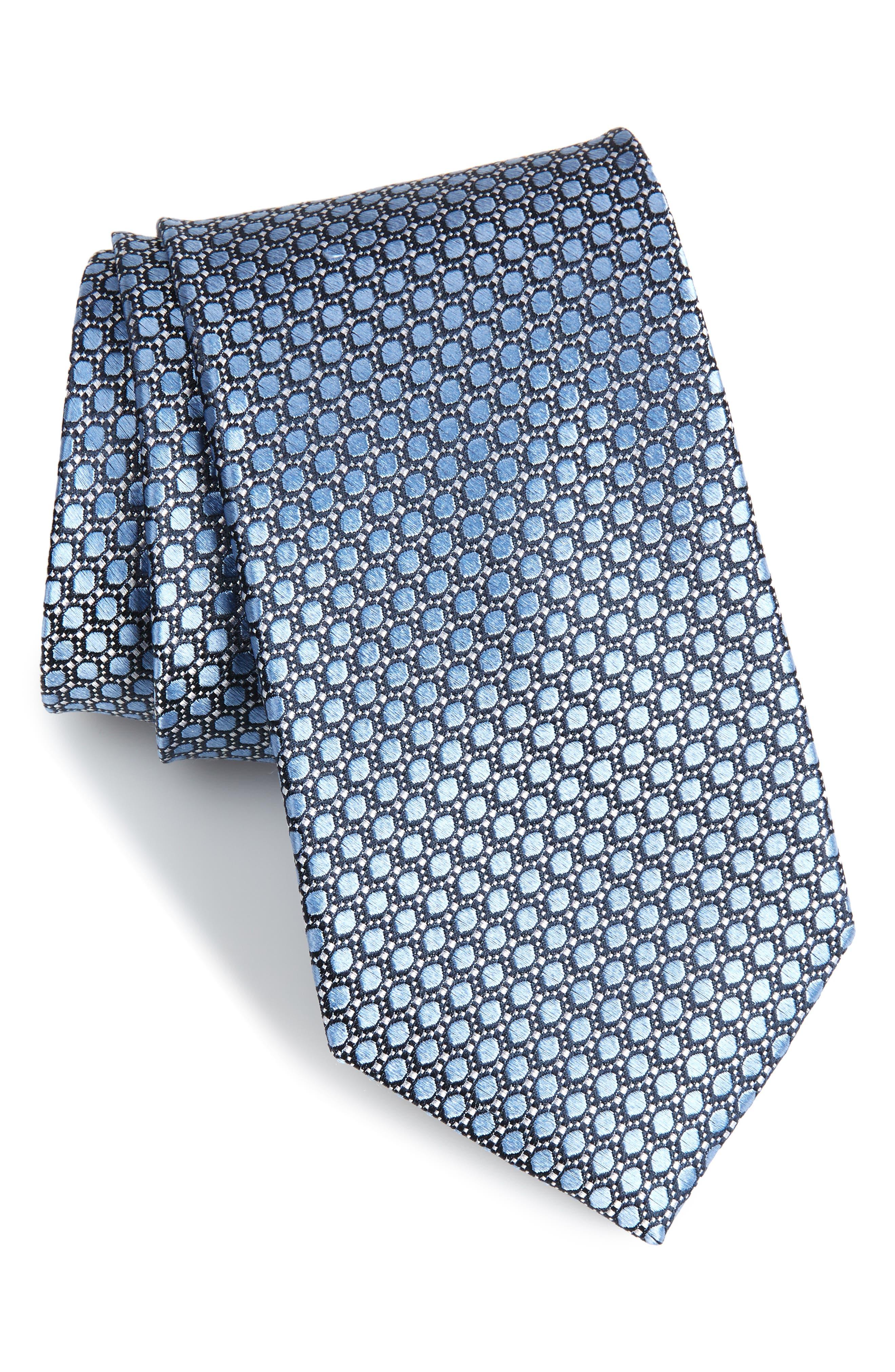 Bassini Geometric Silk Tie,                         Main,                         color, Light Blue