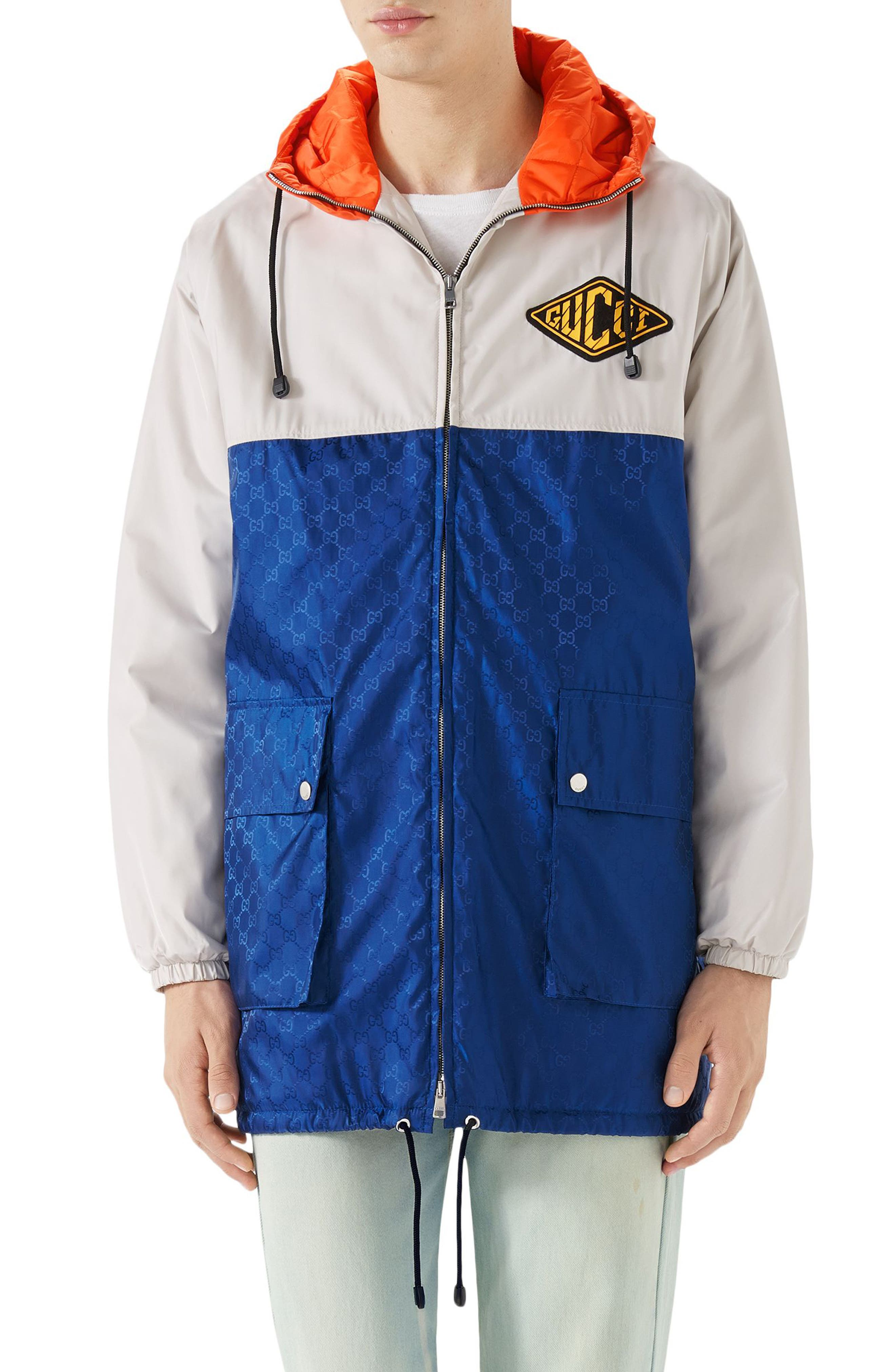 Multicolor Hooded Jacket,                         Main,                         color, Blue
