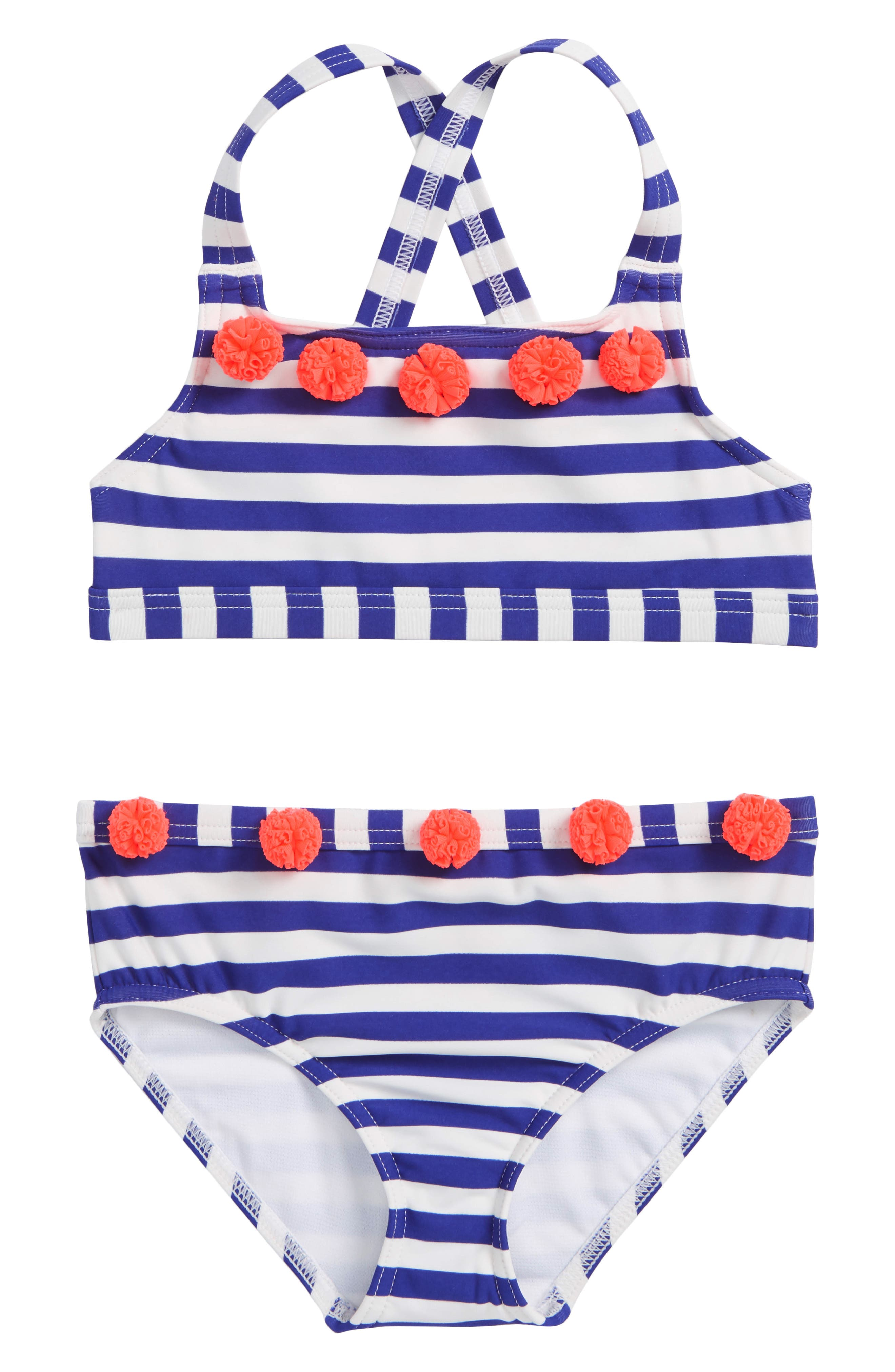 Two-Piece Swimsuit,                         Main,                         color, Dazzling Blue/ Ivory