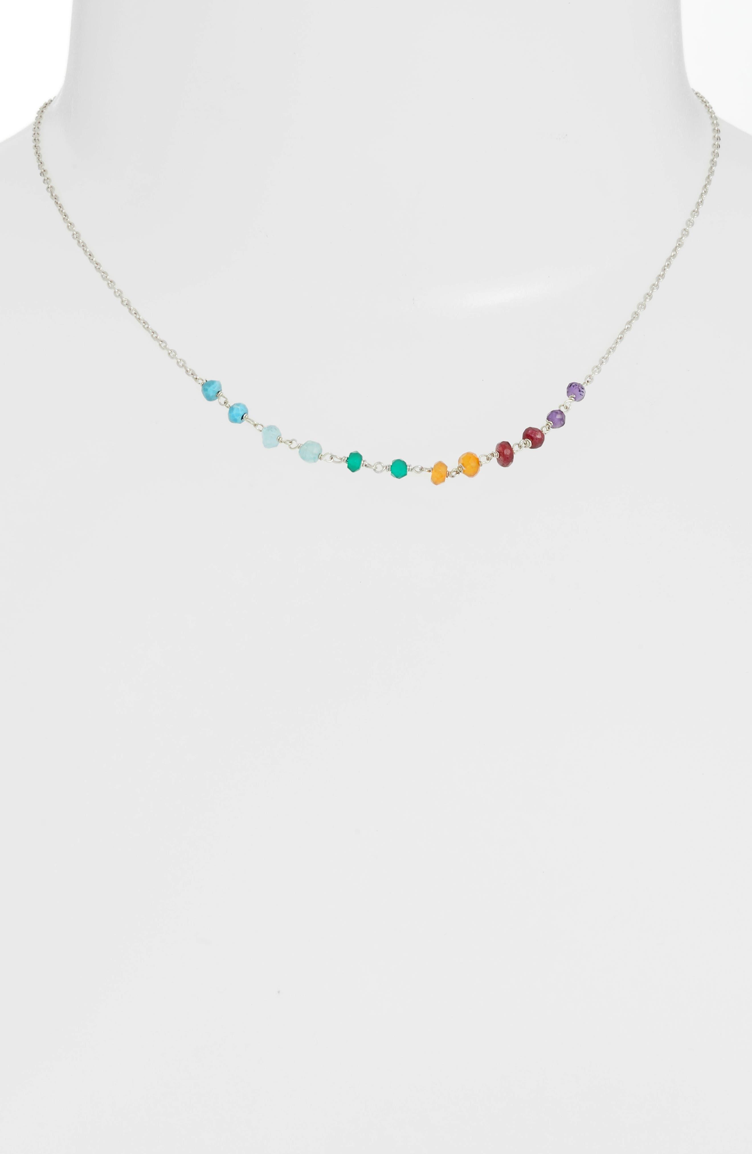 Lapis Collar Necklace,                             Main thumbnail 1, color,                             Silver/ Multi
