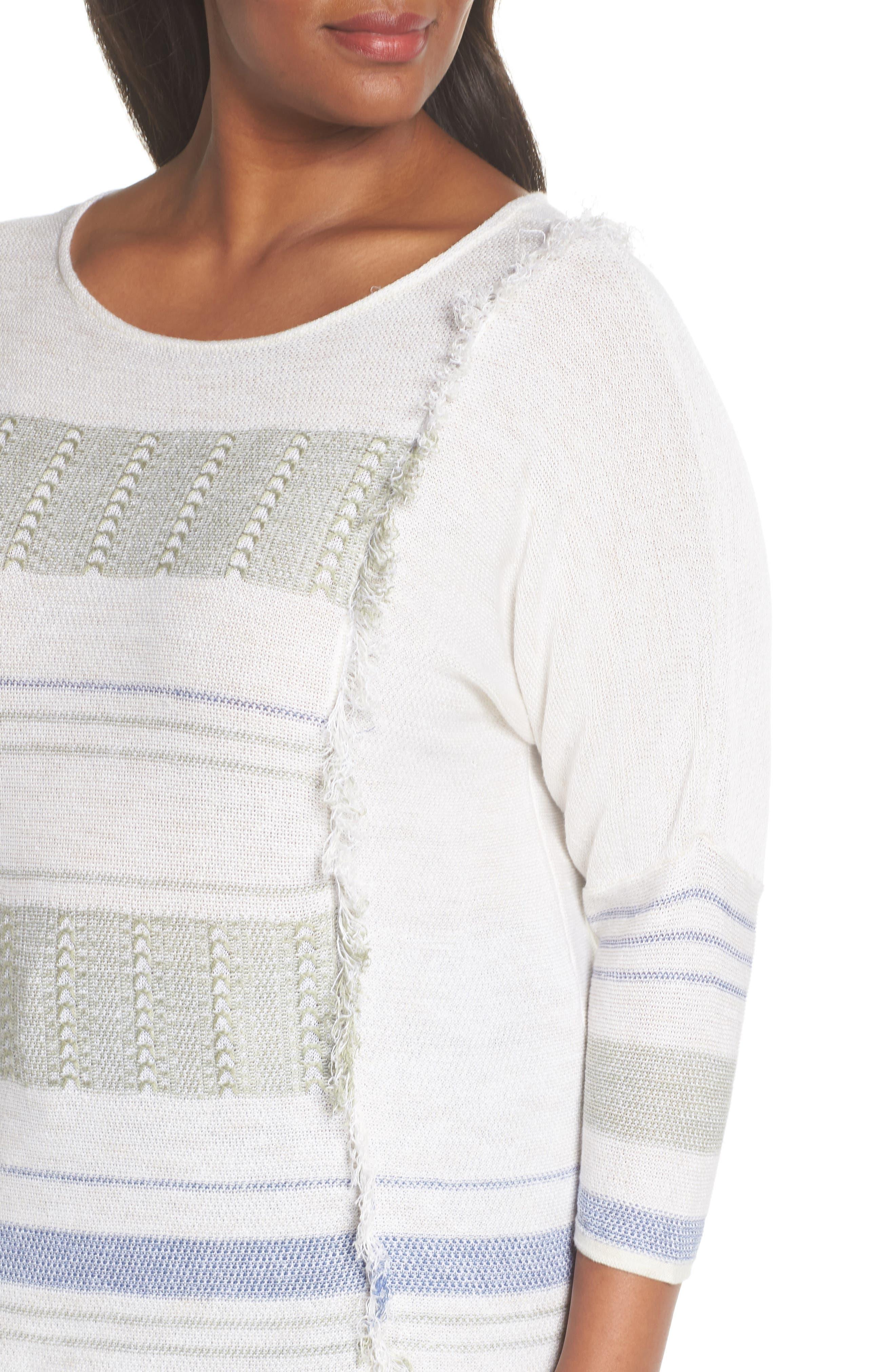 Juniper Fringe Stripe Linen Blend Sweater,                             Alternate thumbnail 4, color,                             Multi