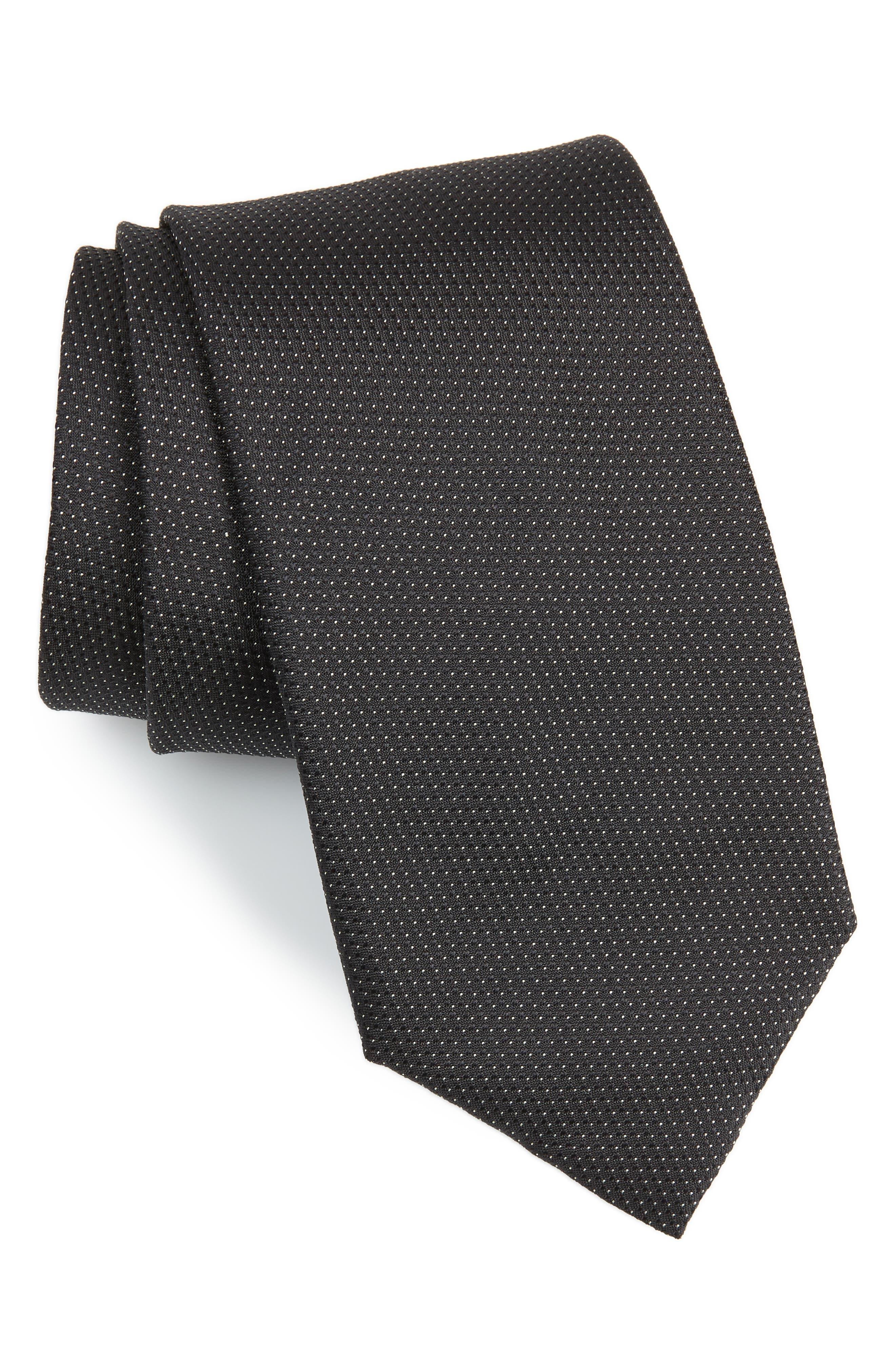 Dot Silk Tie,                         Main,                         color, Black