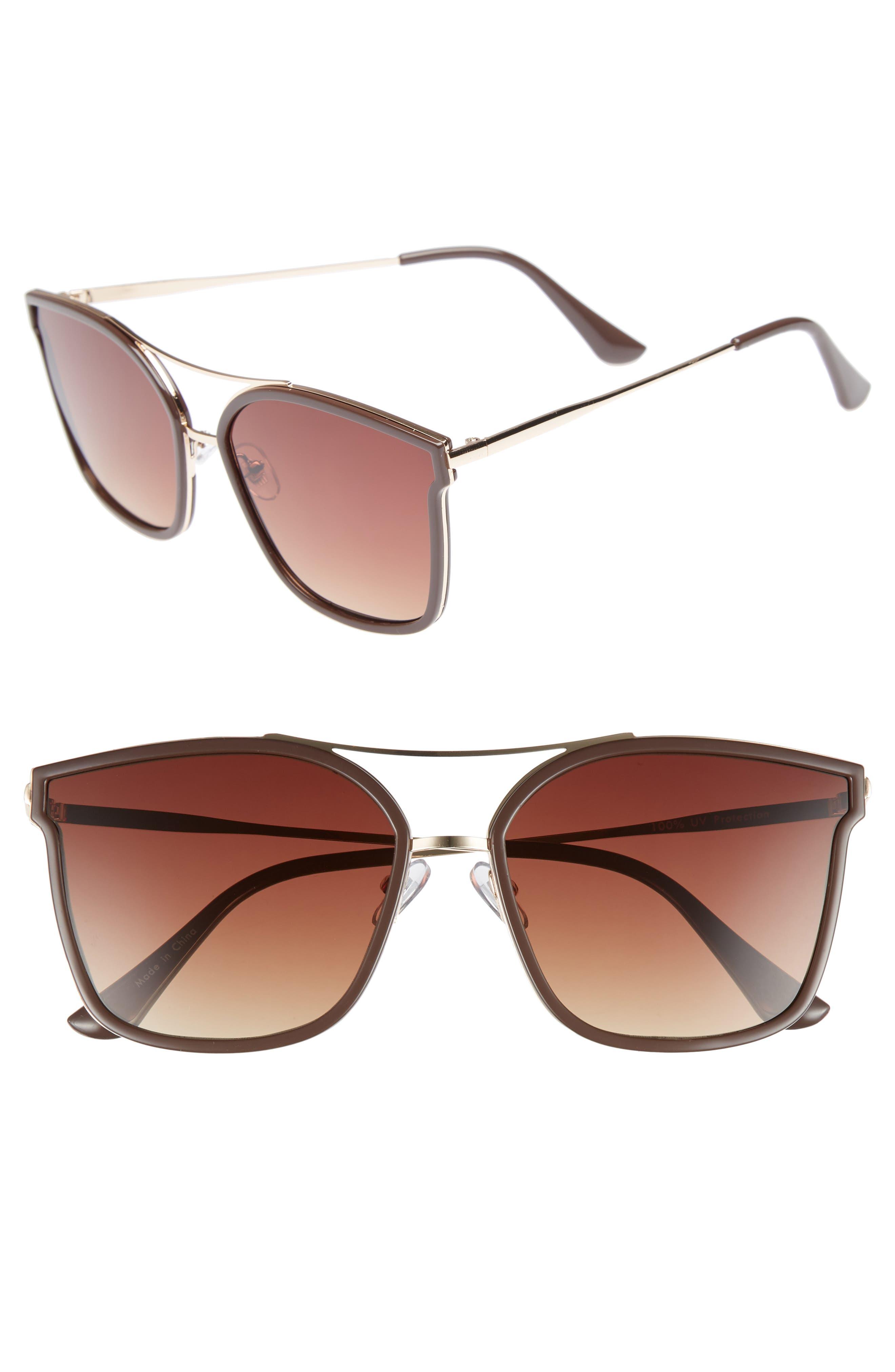 60mm Cat Eye Sunglasses,                             Main thumbnail 1, color,                             Gold/ Brown