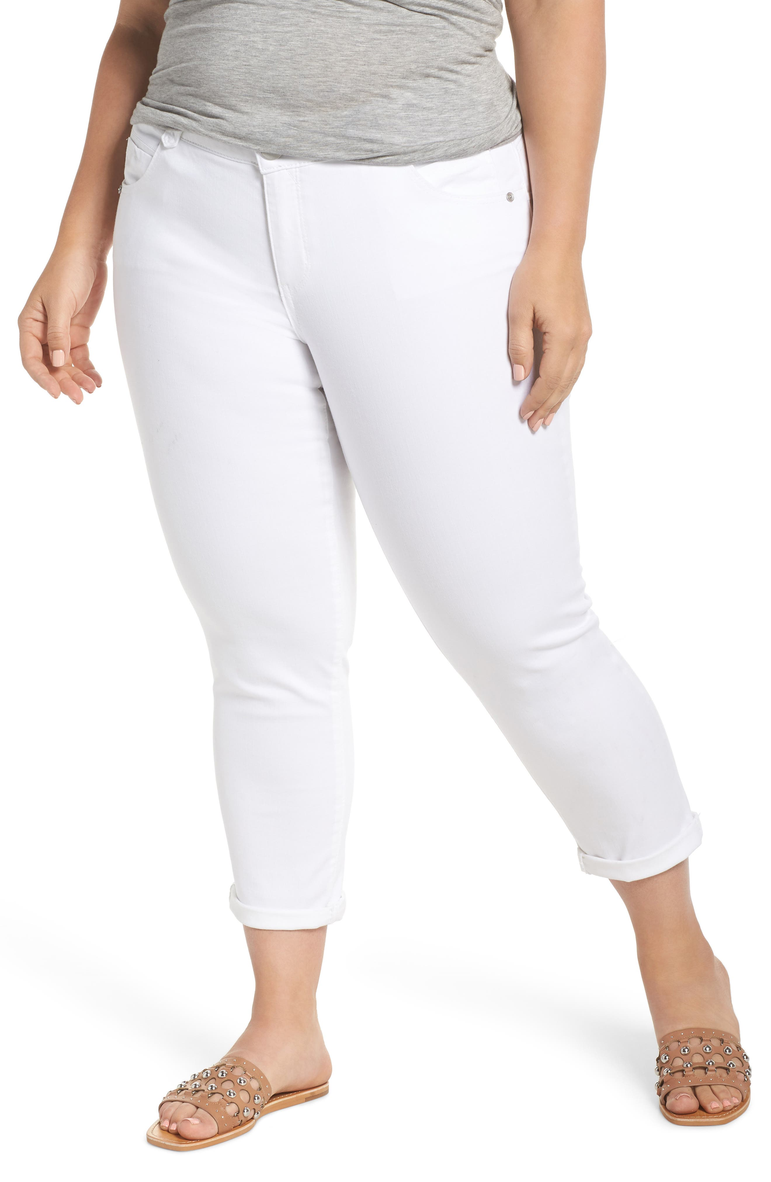 Ab-Solution Ankle Jeans,                             Main thumbnail 1, color,                             Optic White
