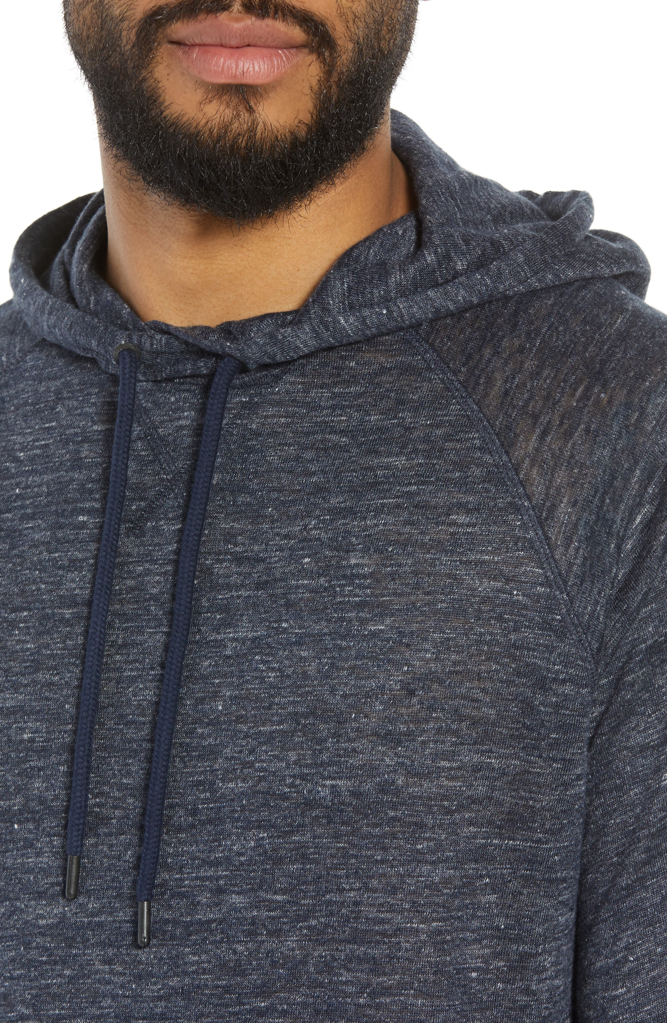 Linen Hoodie,                             Alternate thumbnail 4, color,                             Blue Heather