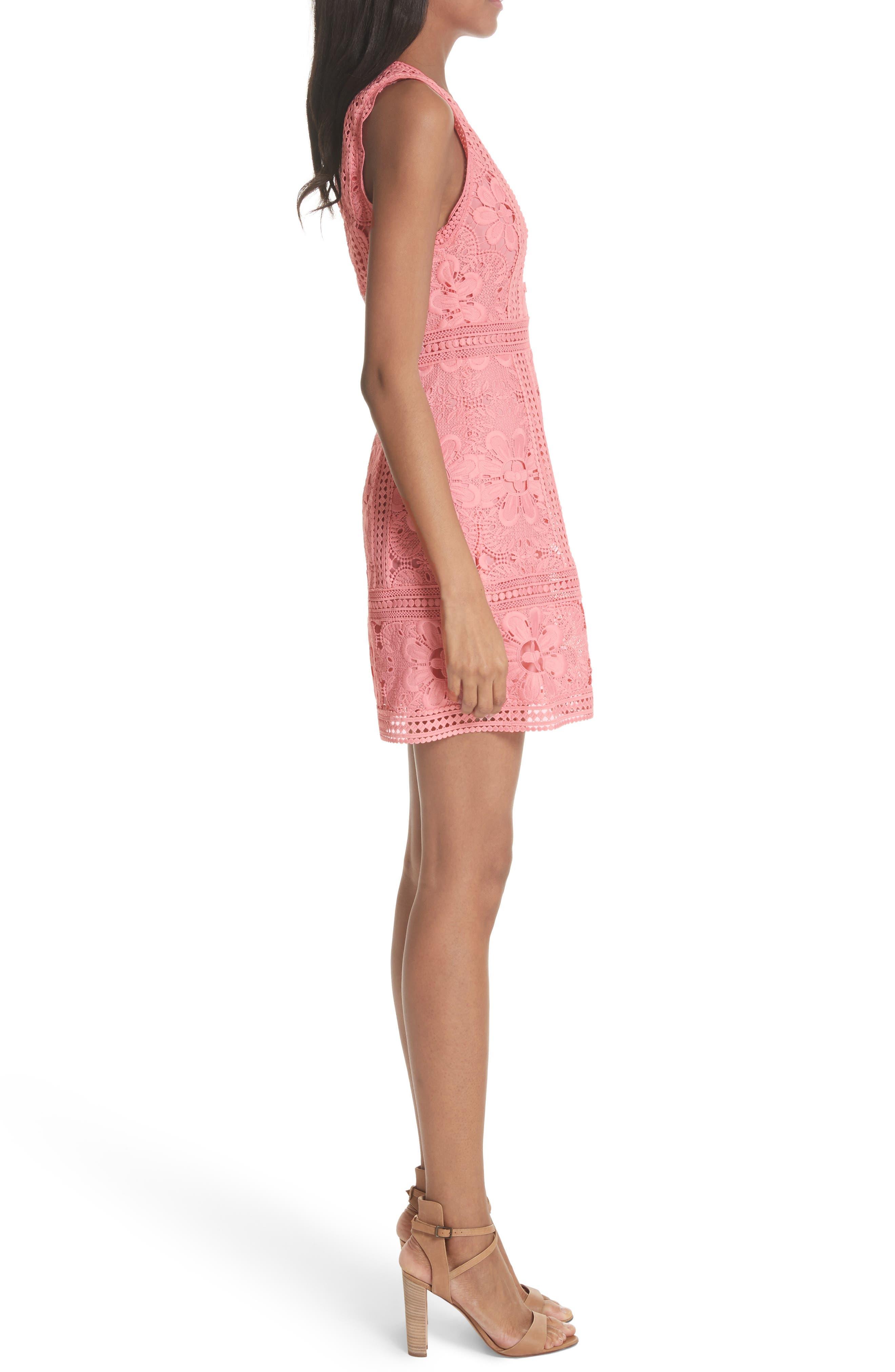 Zula Lace Minidress,                             Alternate thumbnail 3, color,                             Blossom