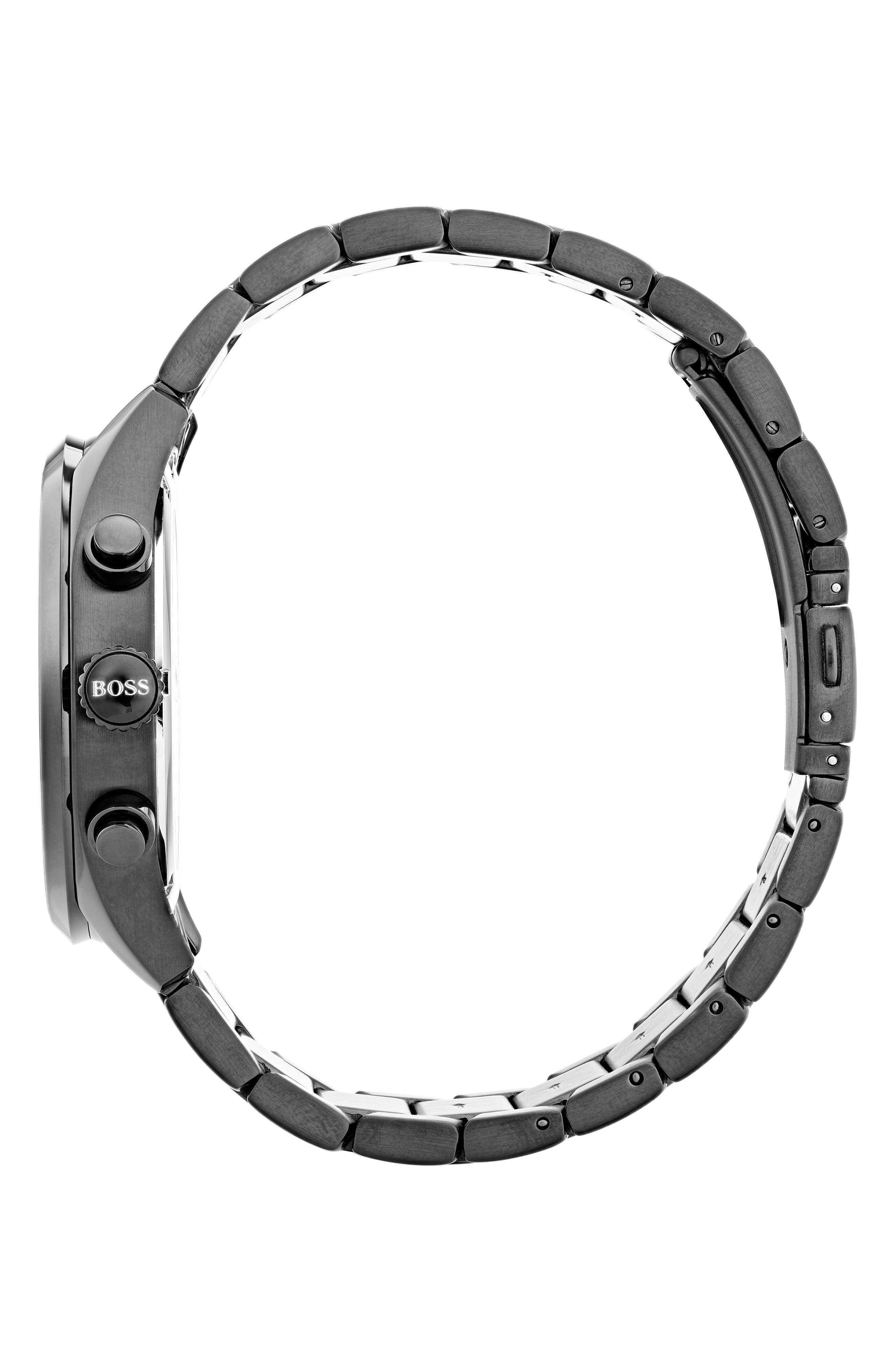 Grand Prix Chronograph Bracelet Watch, 44mm,                             Alternate thumbnail 3, color,                             Black