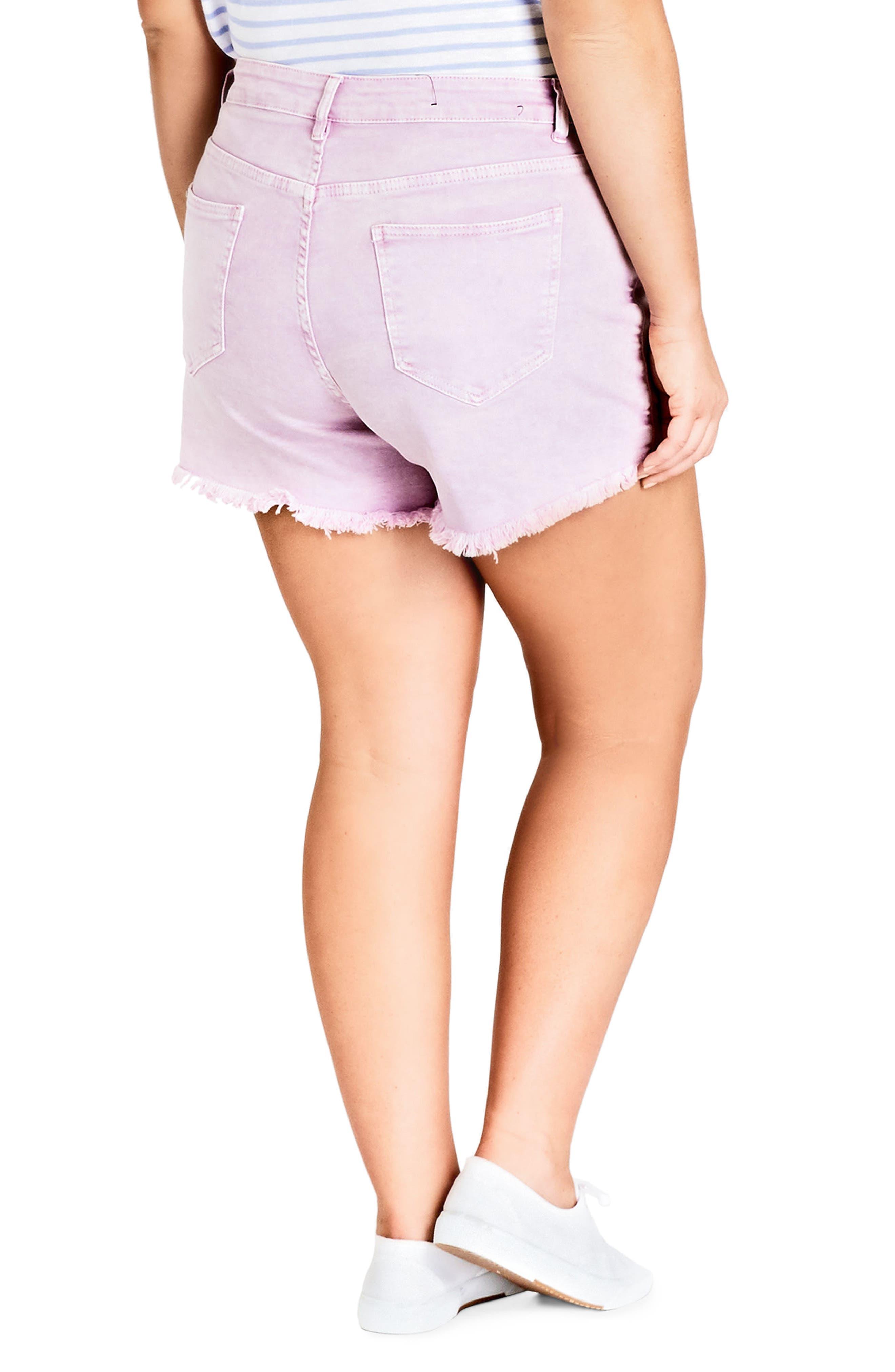 Fray Hem Denim Shorts,                             Alternate thumbnail 2, color,                             Lilac