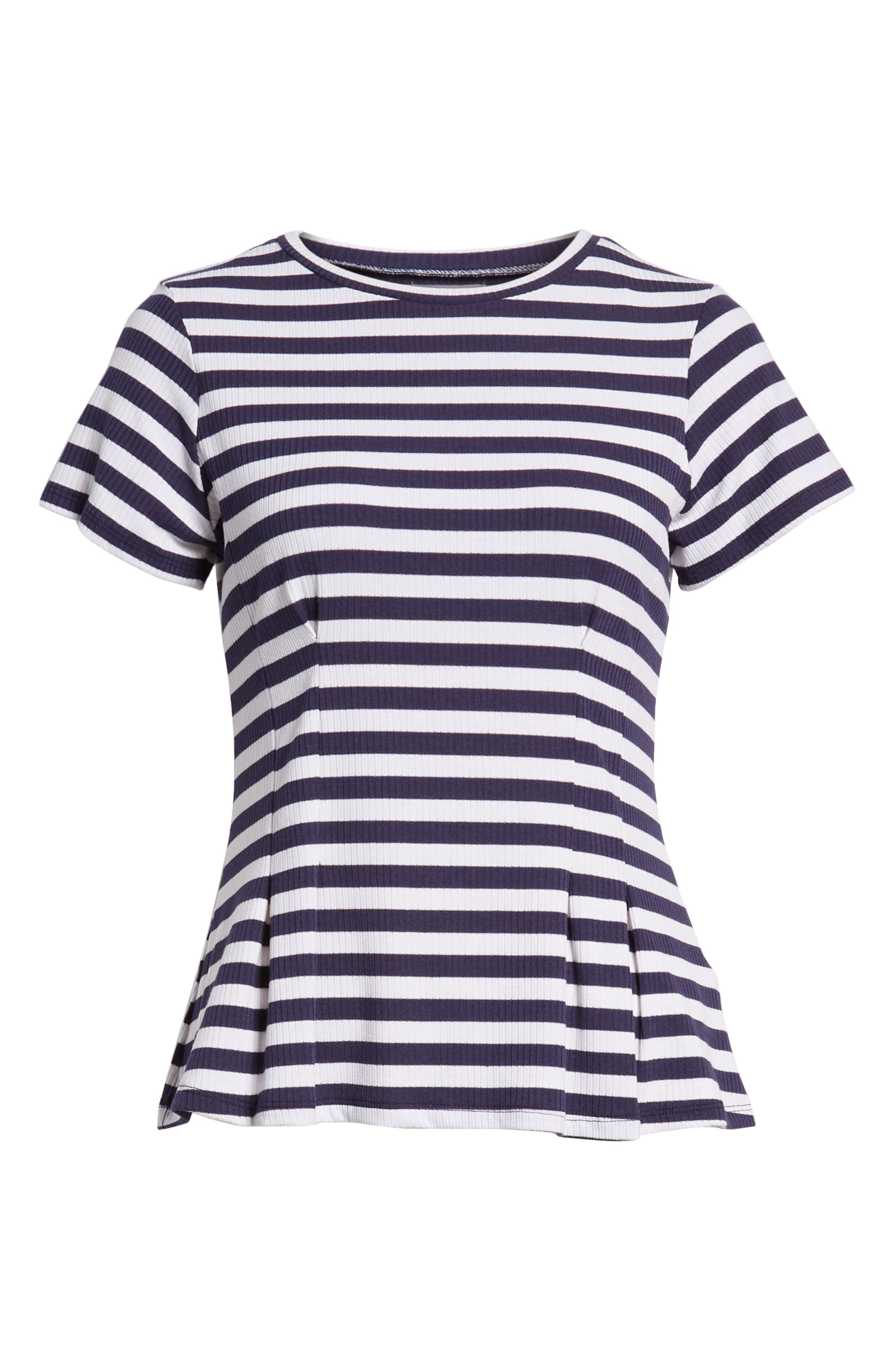 Stripe Peplum Tee,                             Alternate thumbnail 7, color,                             Navy/ White Stripe