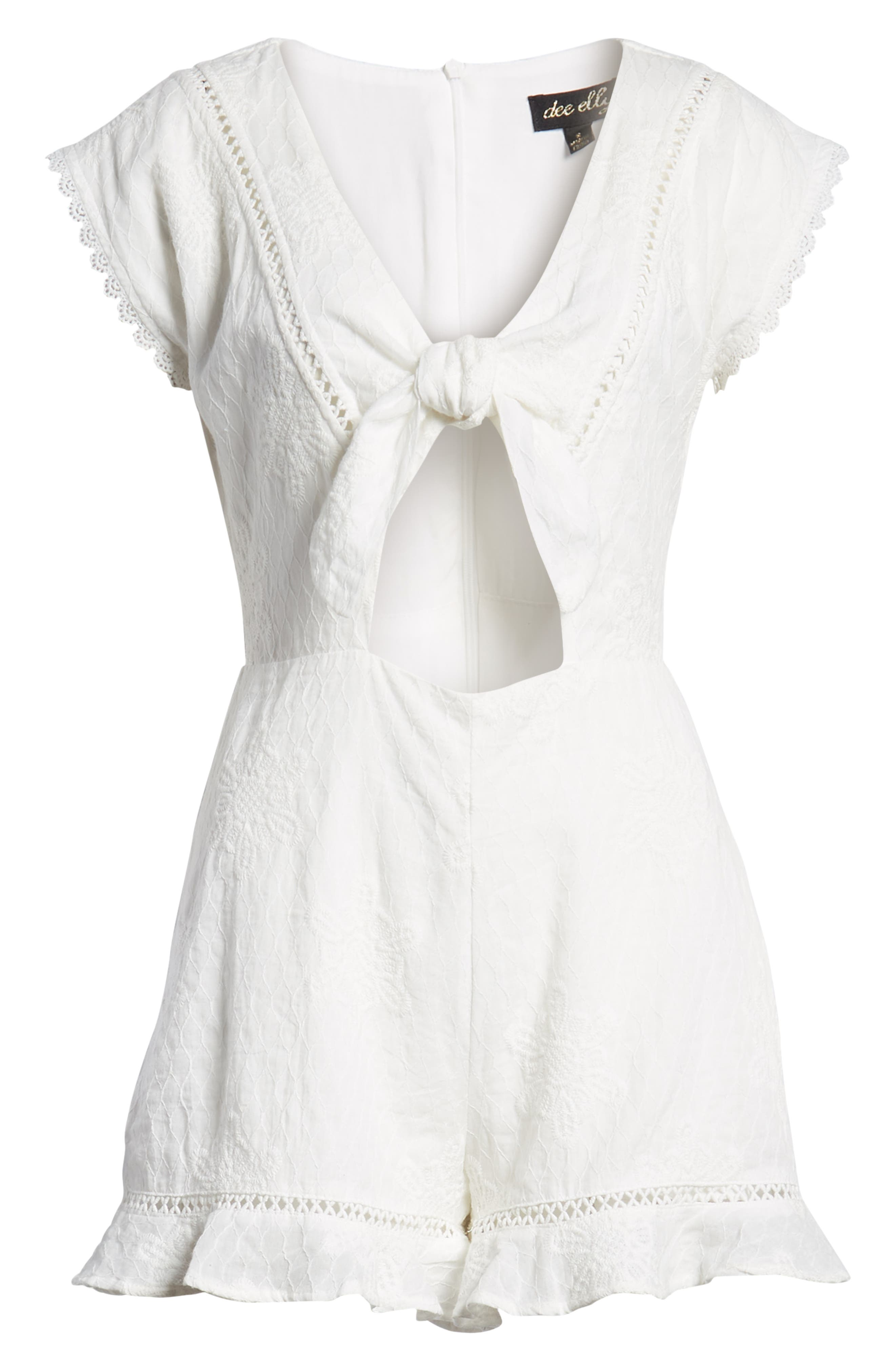 Tie Front Embroidered Romper,                             Alternate thumbnail 7, color,                             White