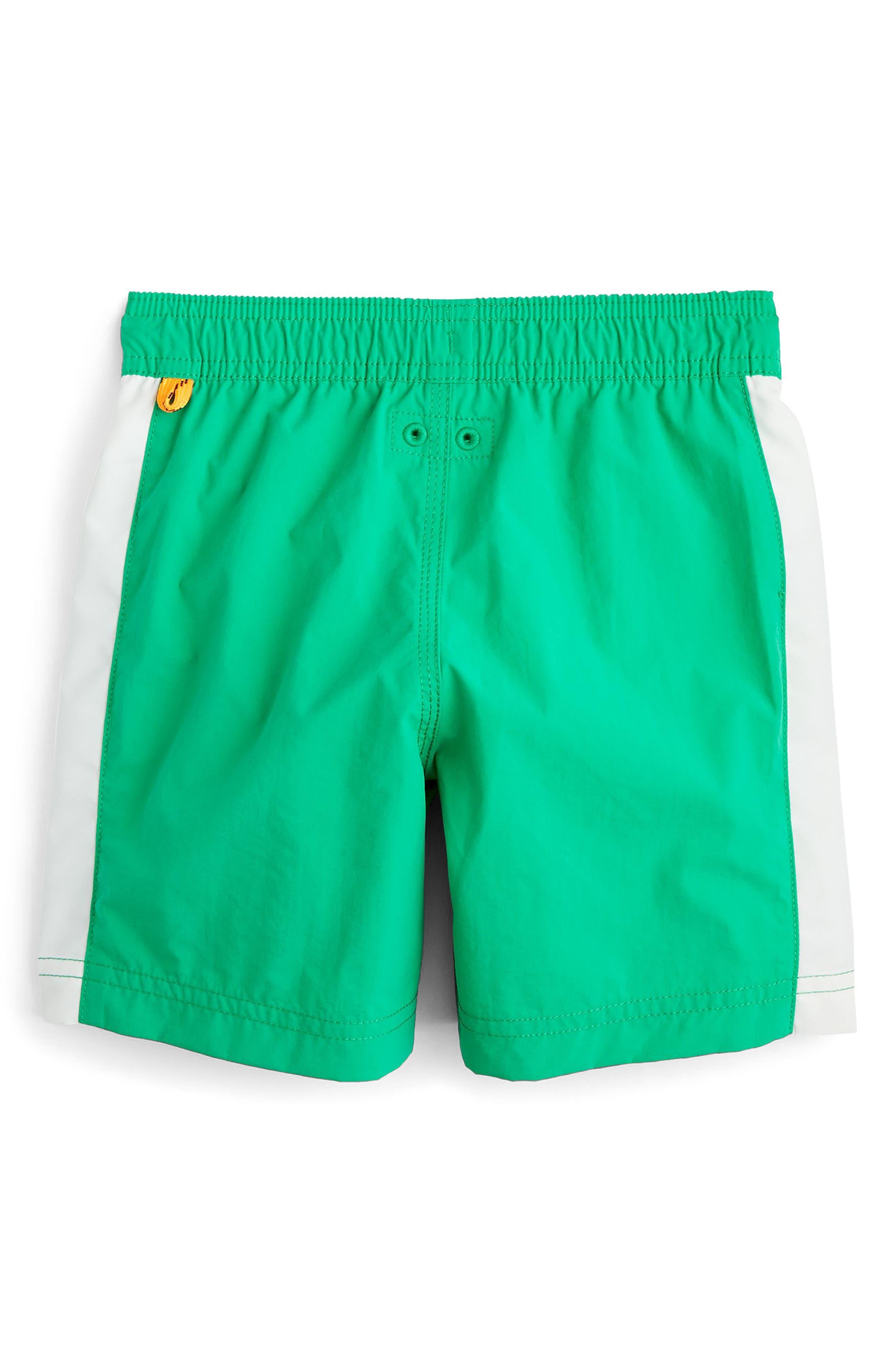 Colorblock Swim Trunks,                             Alternate thumbnail 2, color,                             Emerald White