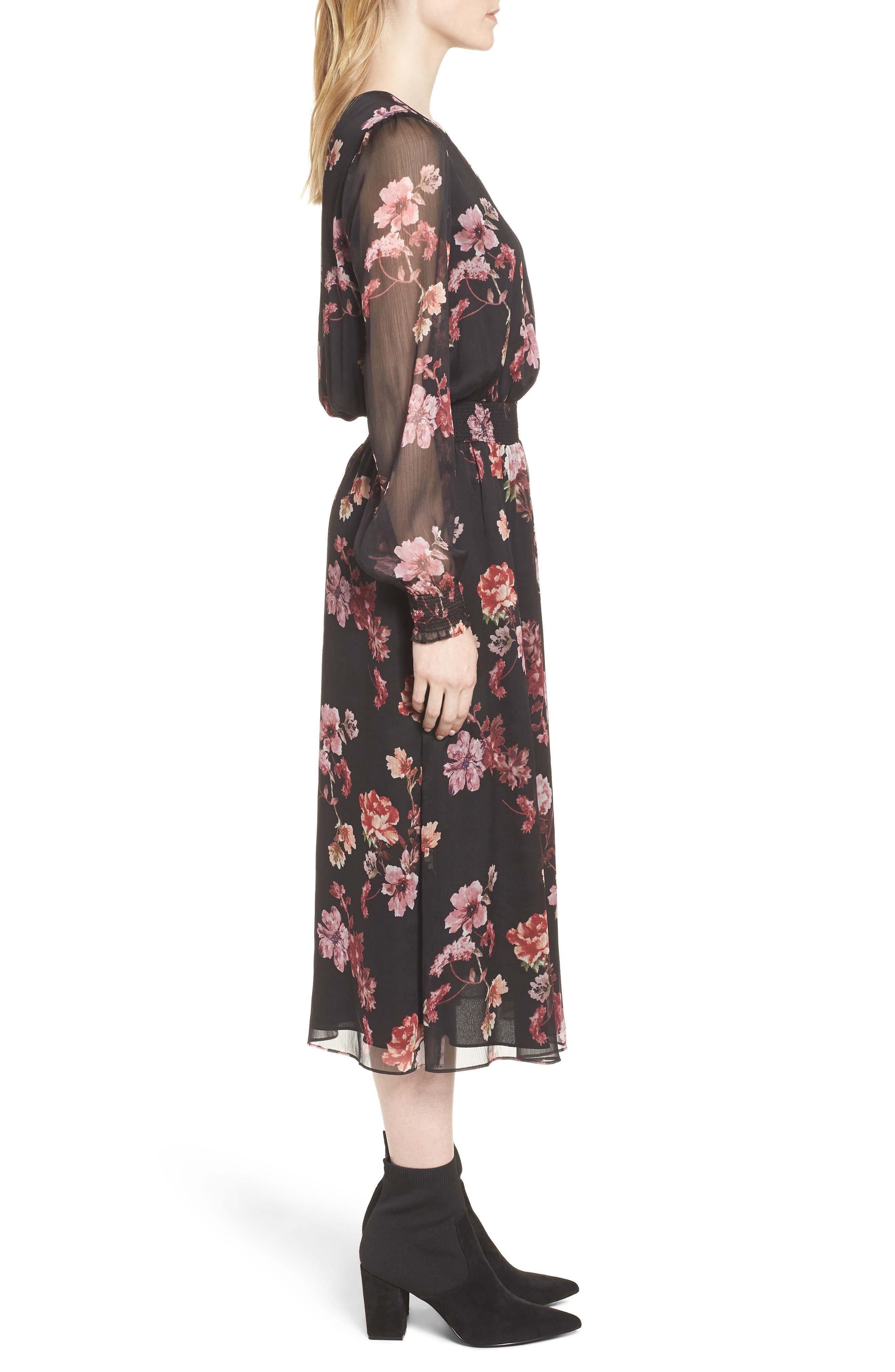 Garden Fleur Chiffon Blouson Dress,                             Alternate thumbnail 3, color,                             Rich Black