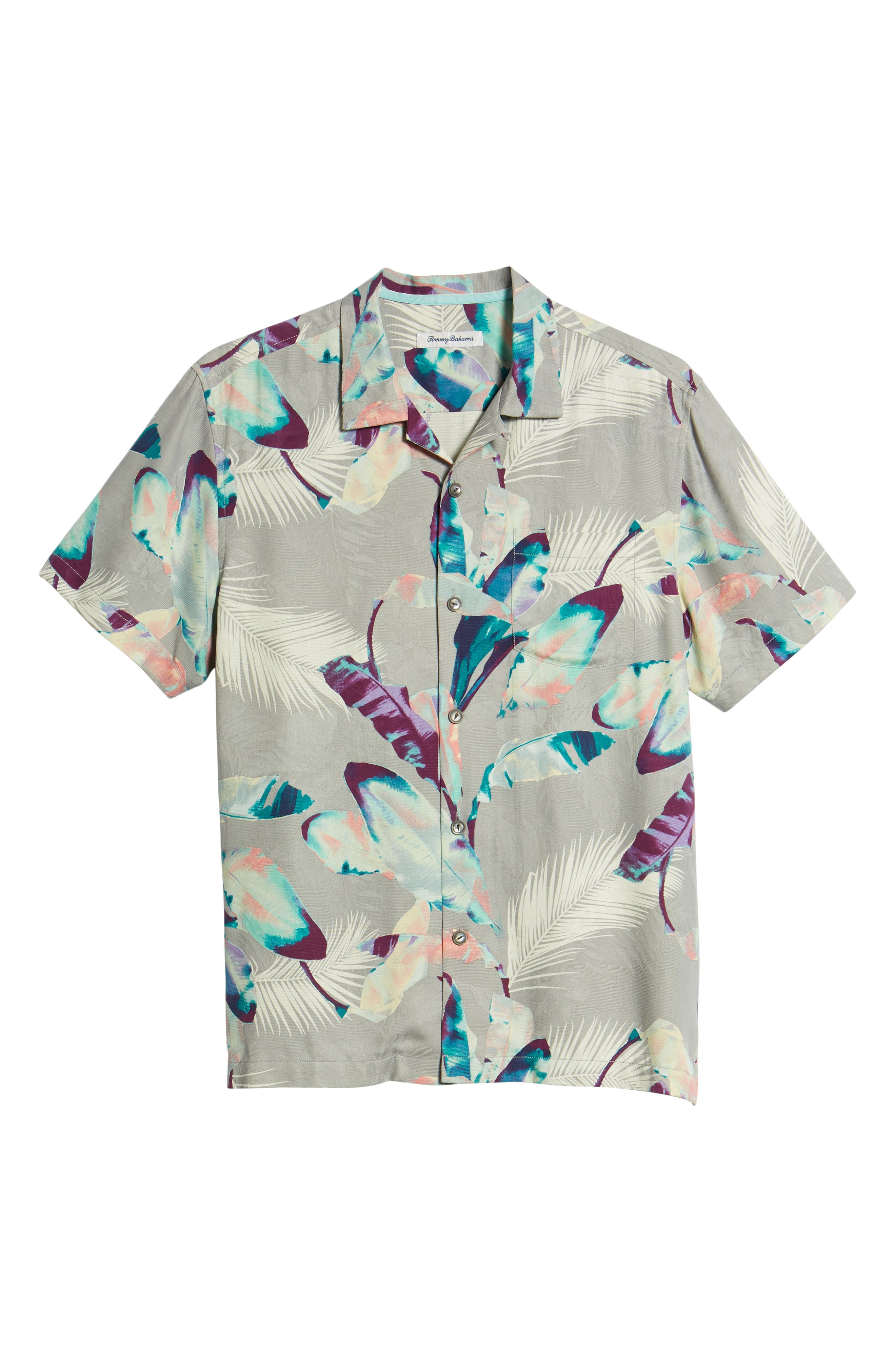 Garden of Hope and Courage Silk Camp Shirt,                             Alternate thumbnail 6, color,                             Bala Shark