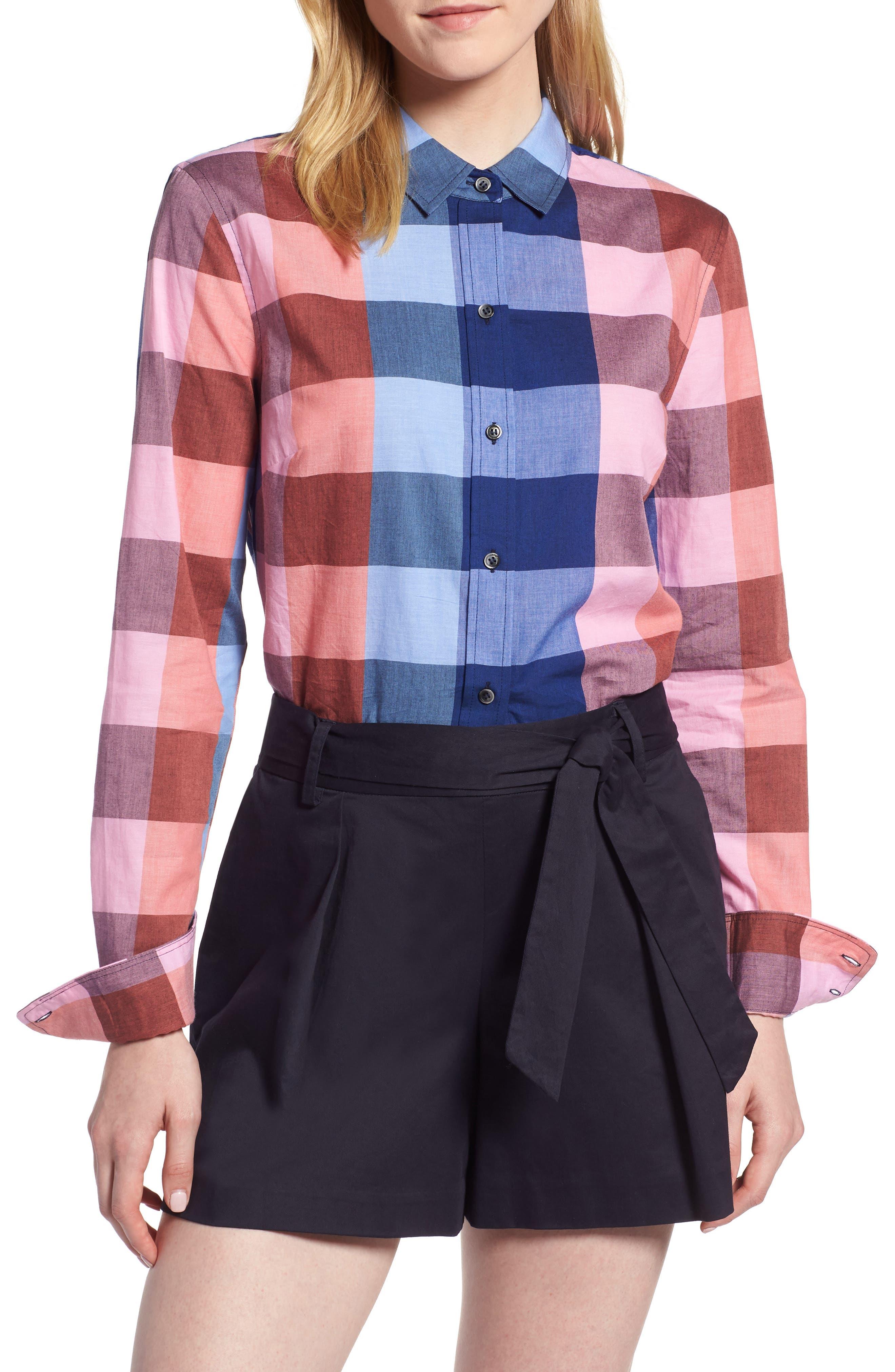 Plaid Cotton Button-Down Shirt,                             Main thumbnail 1, color,                             Blue- Pink Plaid