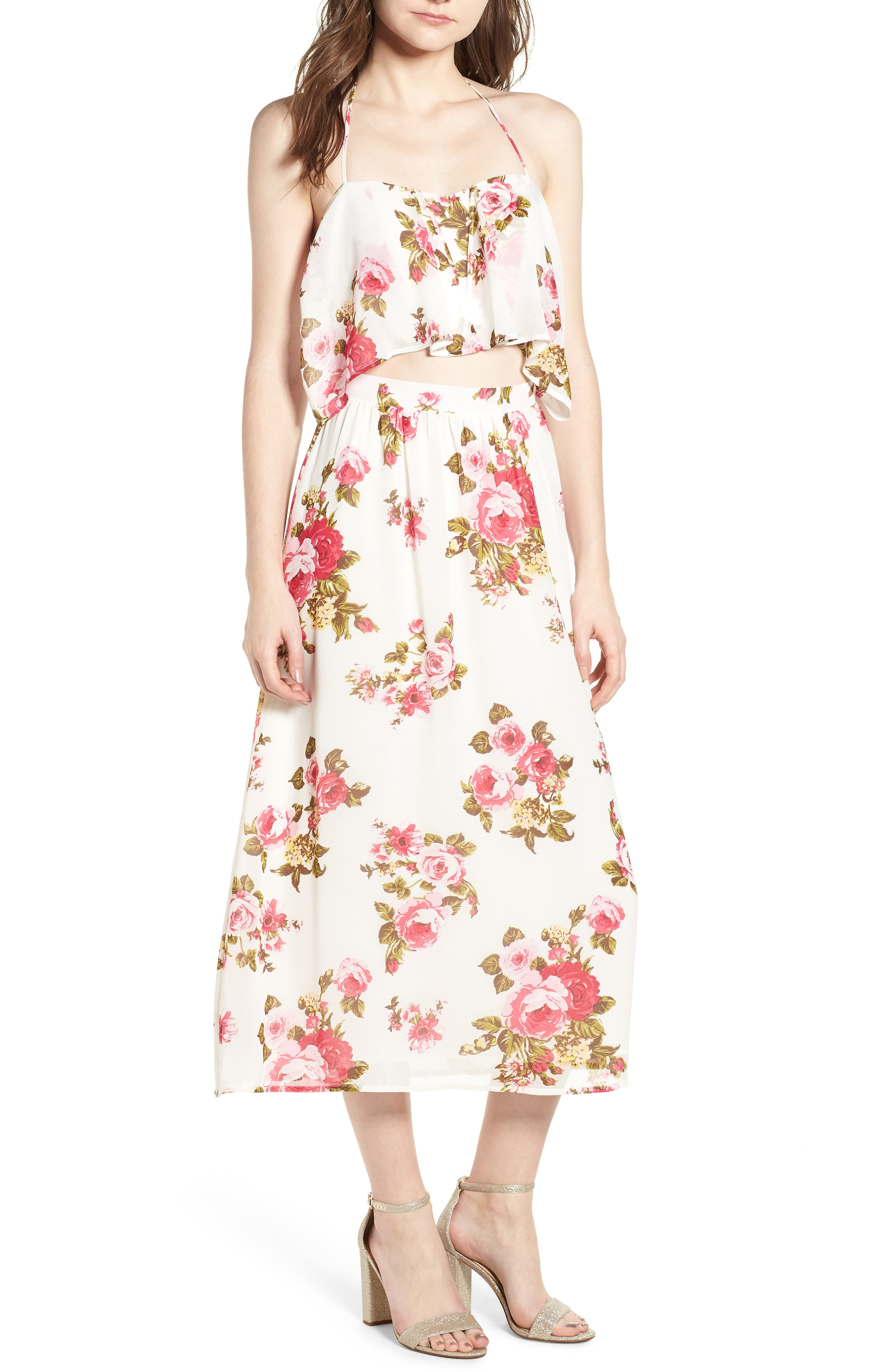 Floral Print Halter Midi Dress,                         Main,                         color, Ivory Floral