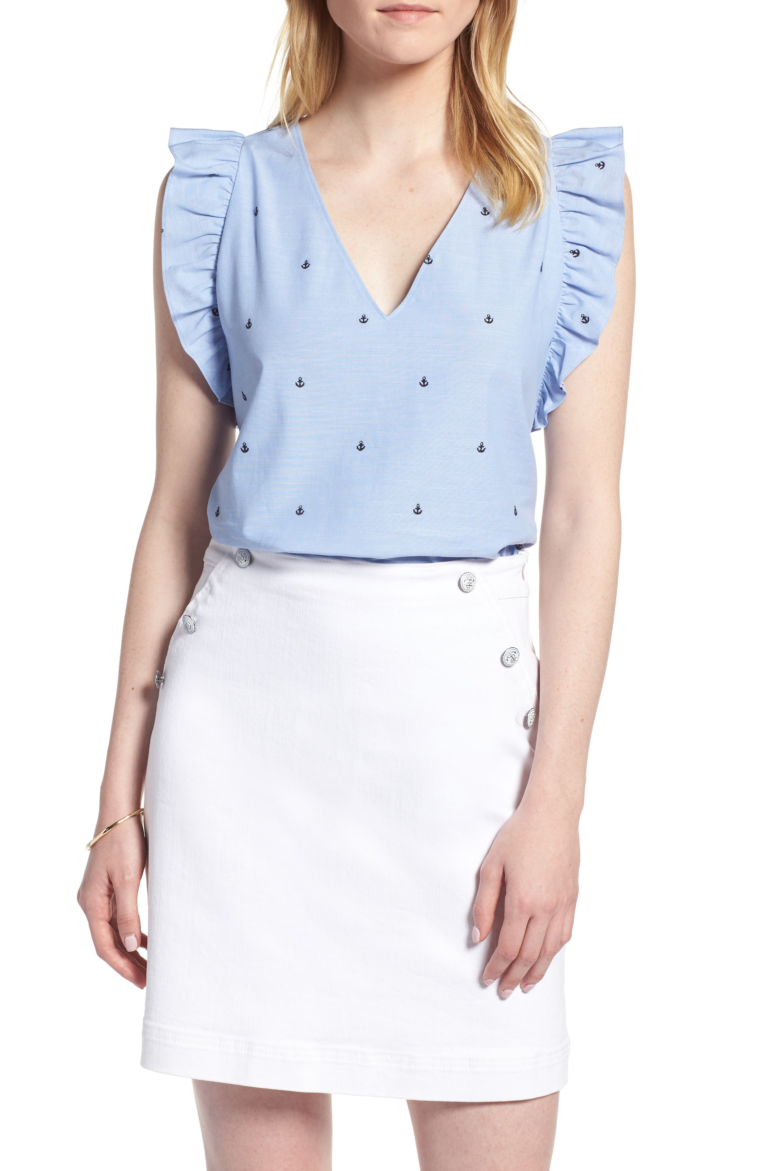 Anchor Embroidery Cotton Chambray Top,                         Main,                         color, Chambray Anchors