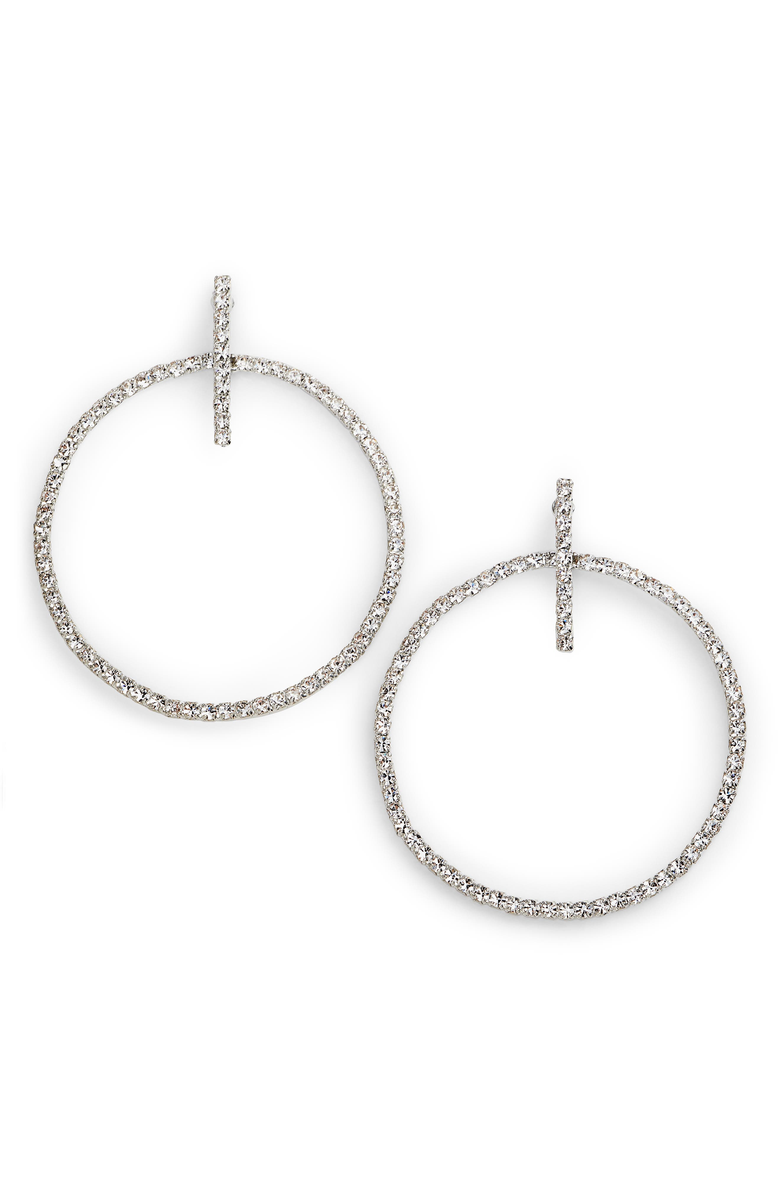 Crystal Hoop Drop Earrings,                         Main,                         color, Crystal/ Silver