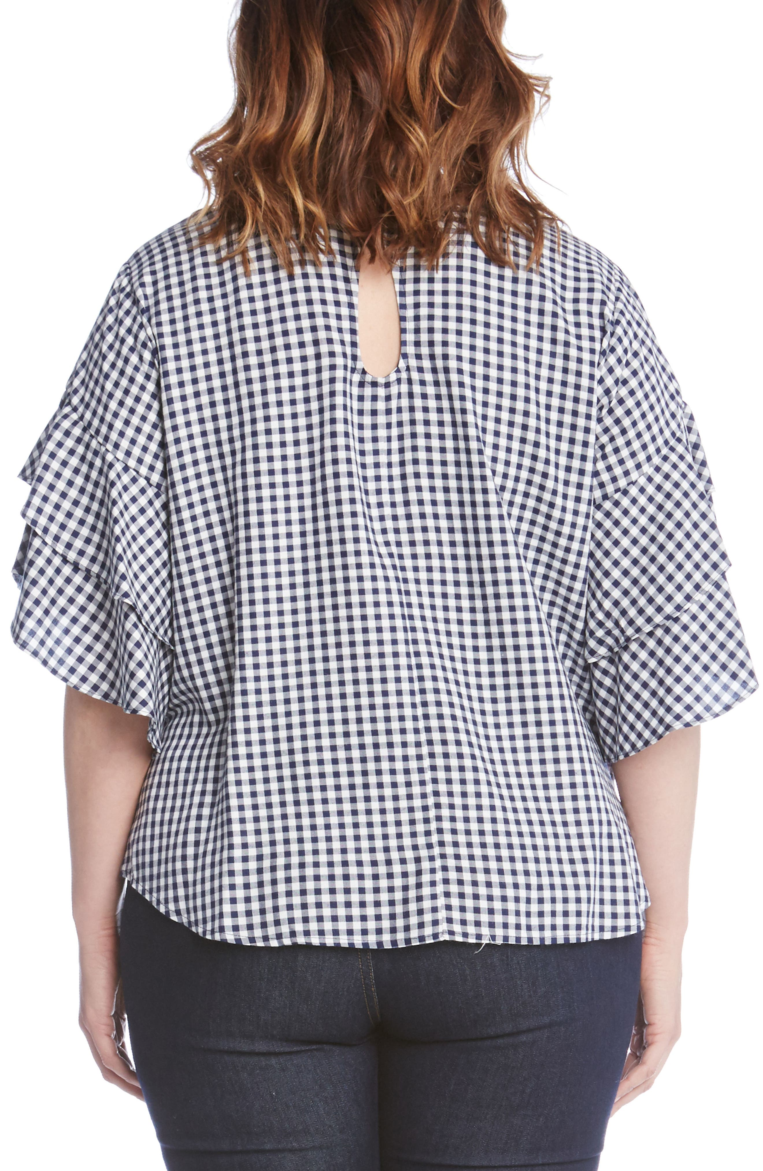 Ruffle Sleeve Gingham Blouse,                             Alternate thumbnail 2, color,                             Check